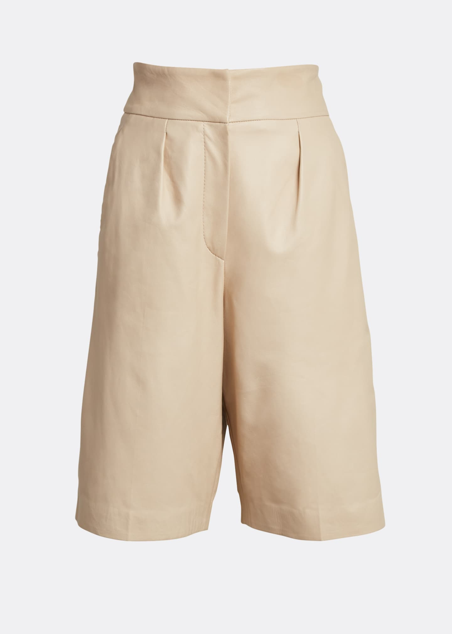 Image 5 of 5: Pleated Napa Knee Shorts