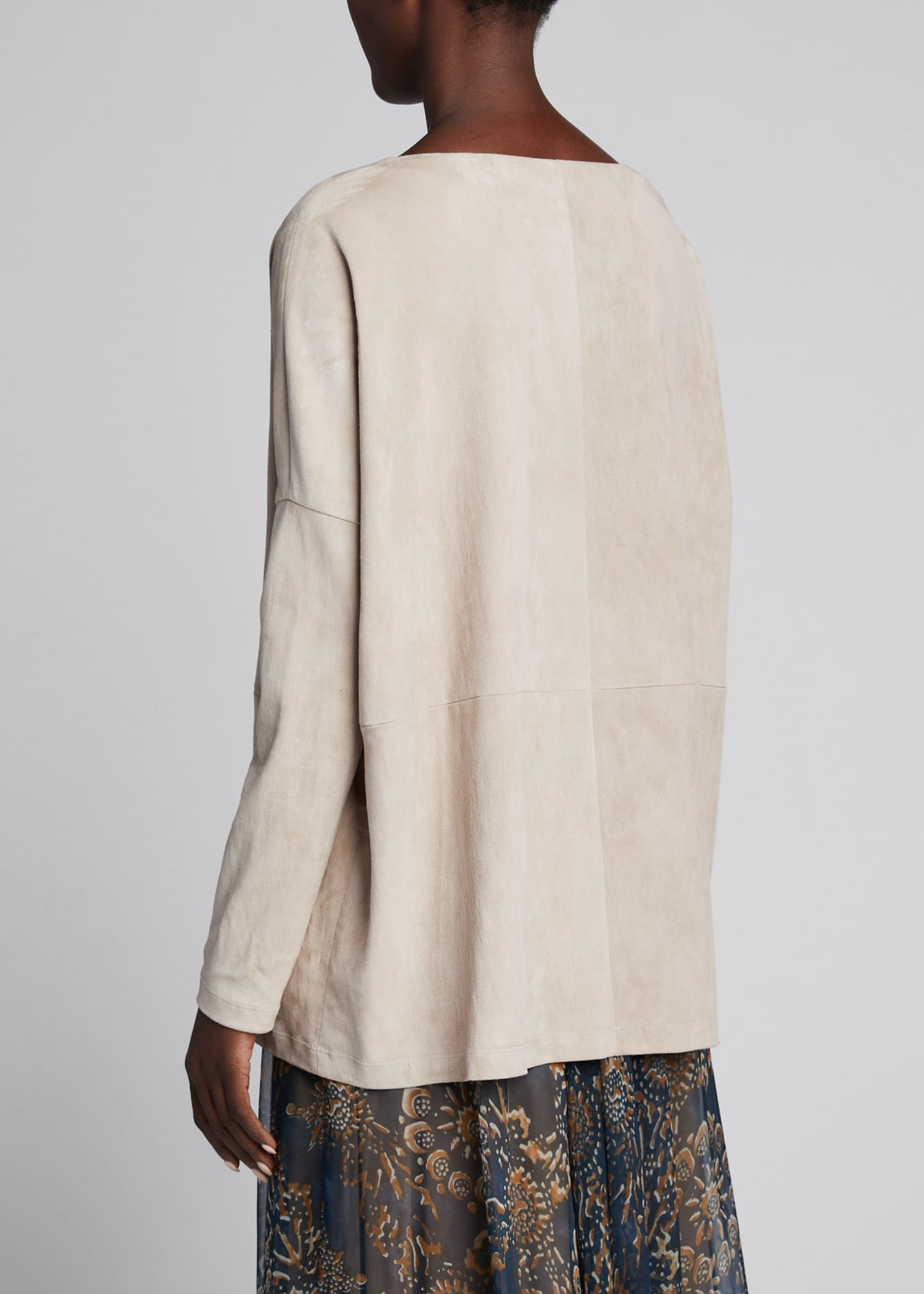 Image 2 of 5: Suede Pullover Boat-Neck Top