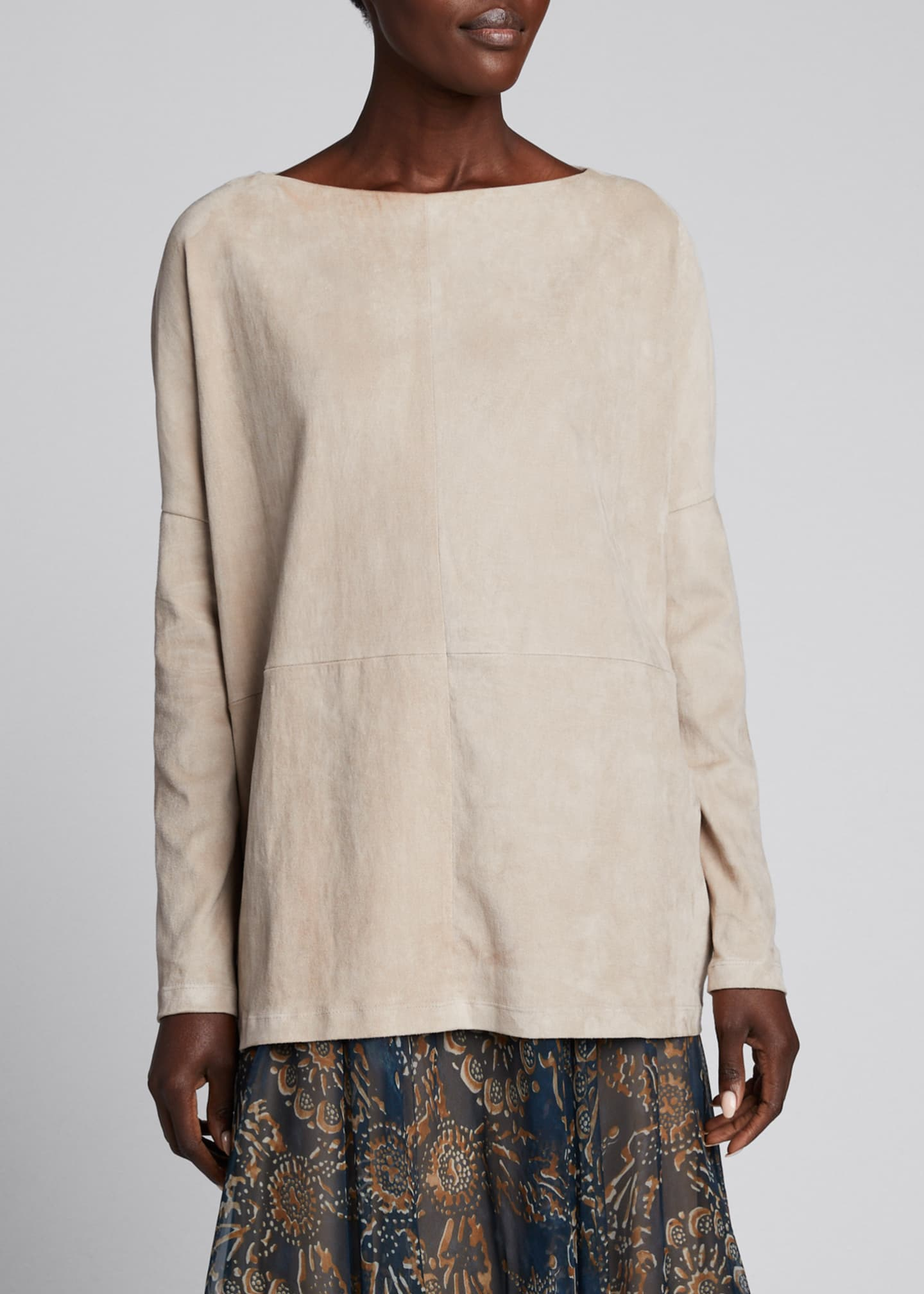Image 3 of 5: Suede Pullover Boat-Neck Top