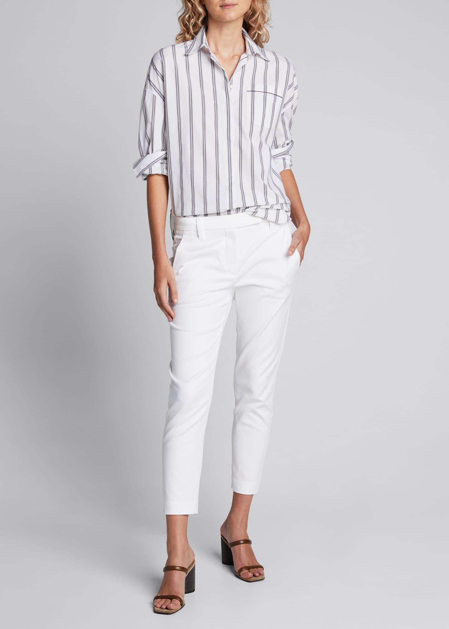 Brunello Cucinelli Striped Poplin Button-Front Shirt