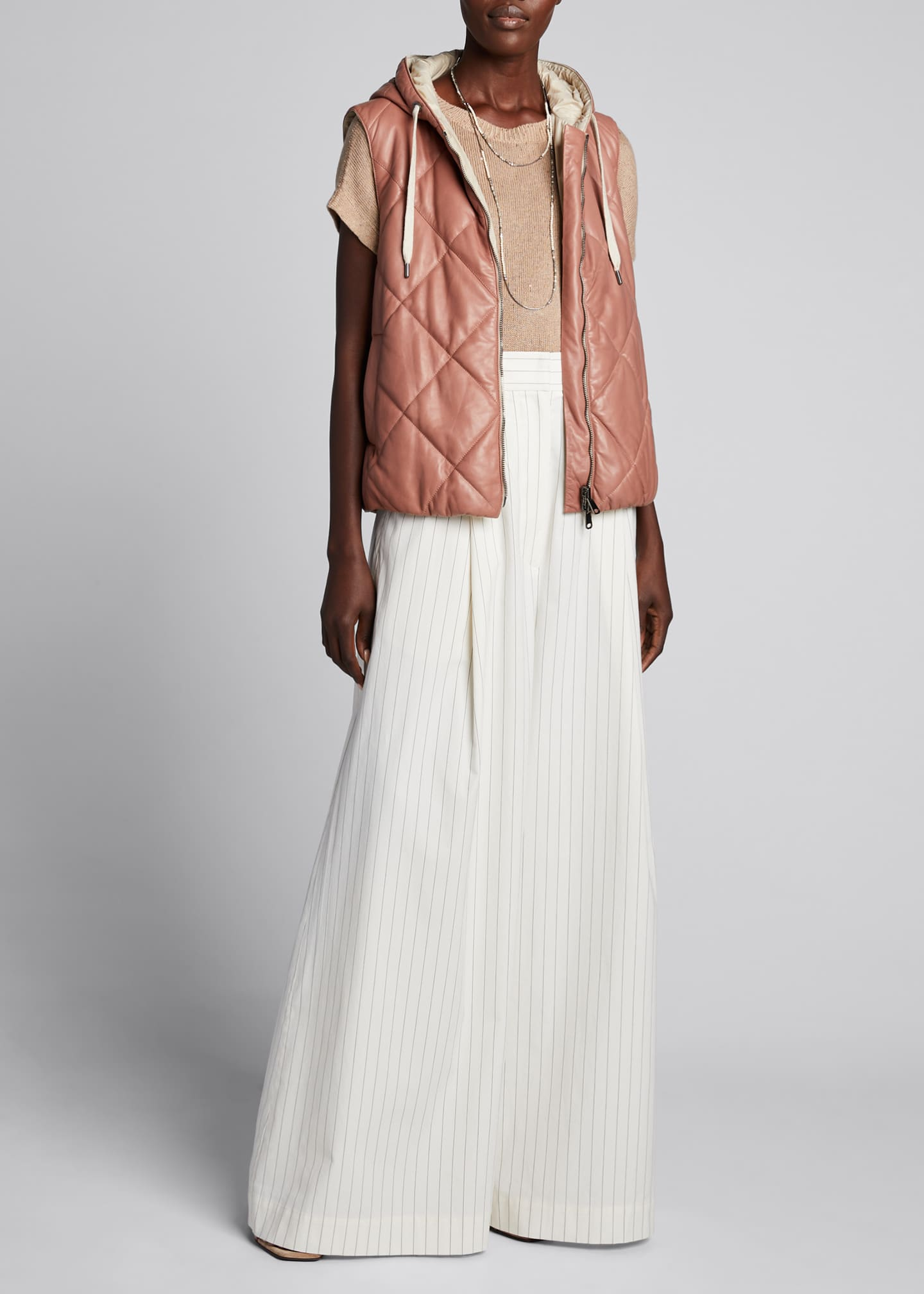 Brunello Cucinelli Quilted Leather Hooded Vest