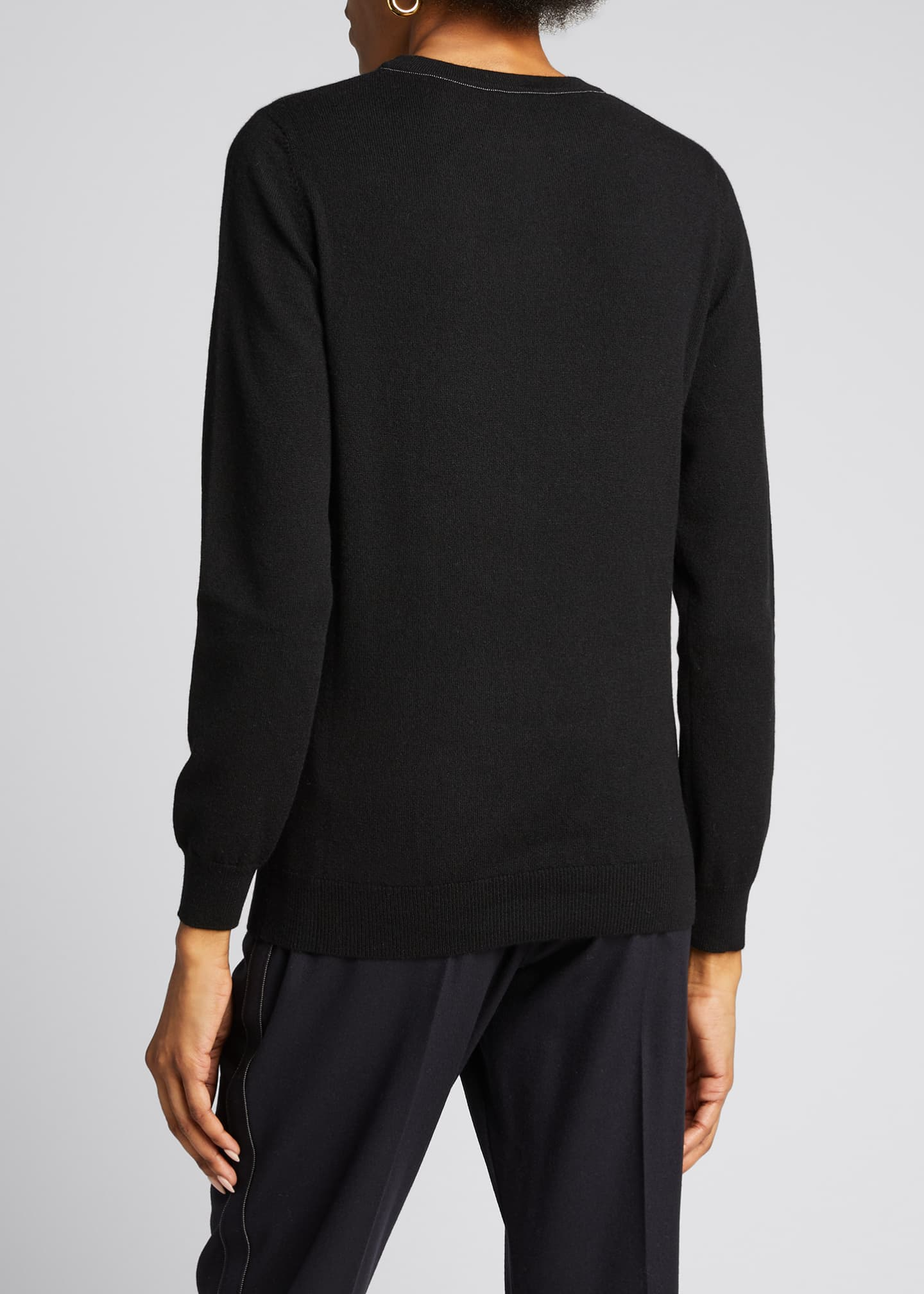 Image 2 of 5: Cashmere Basic Crewneck Sweater