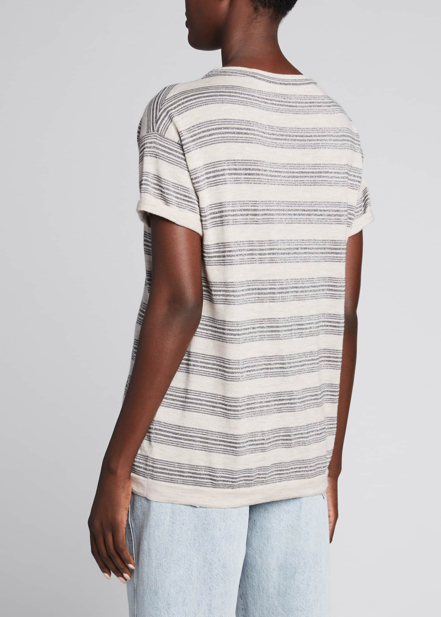 Image 2 of 5: Wool-Cashmere Striped Short-Sleeve Sweater