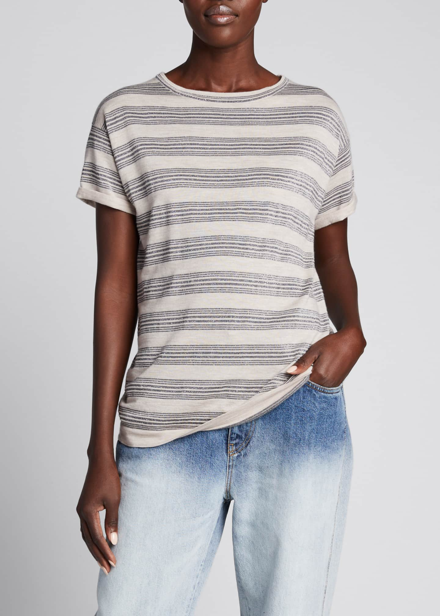 Image 3 of 5: Wool-Cashmere Striped Short-Sleeve Sweater