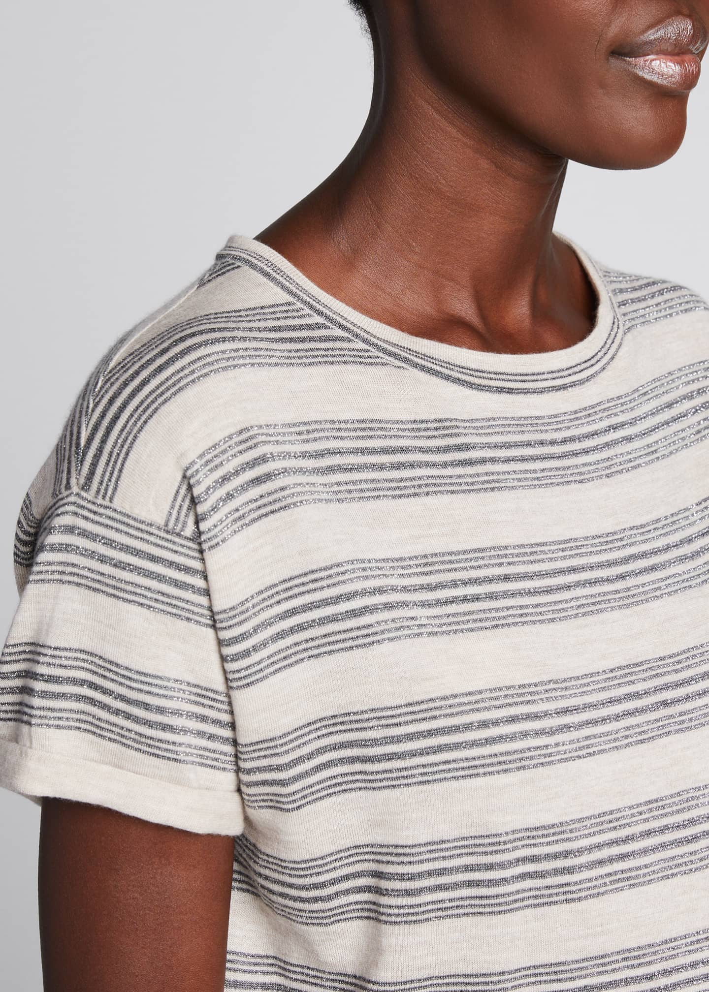 Image 4 of 5: Wool-Cashmere Striped Short-Sleeve Sweater