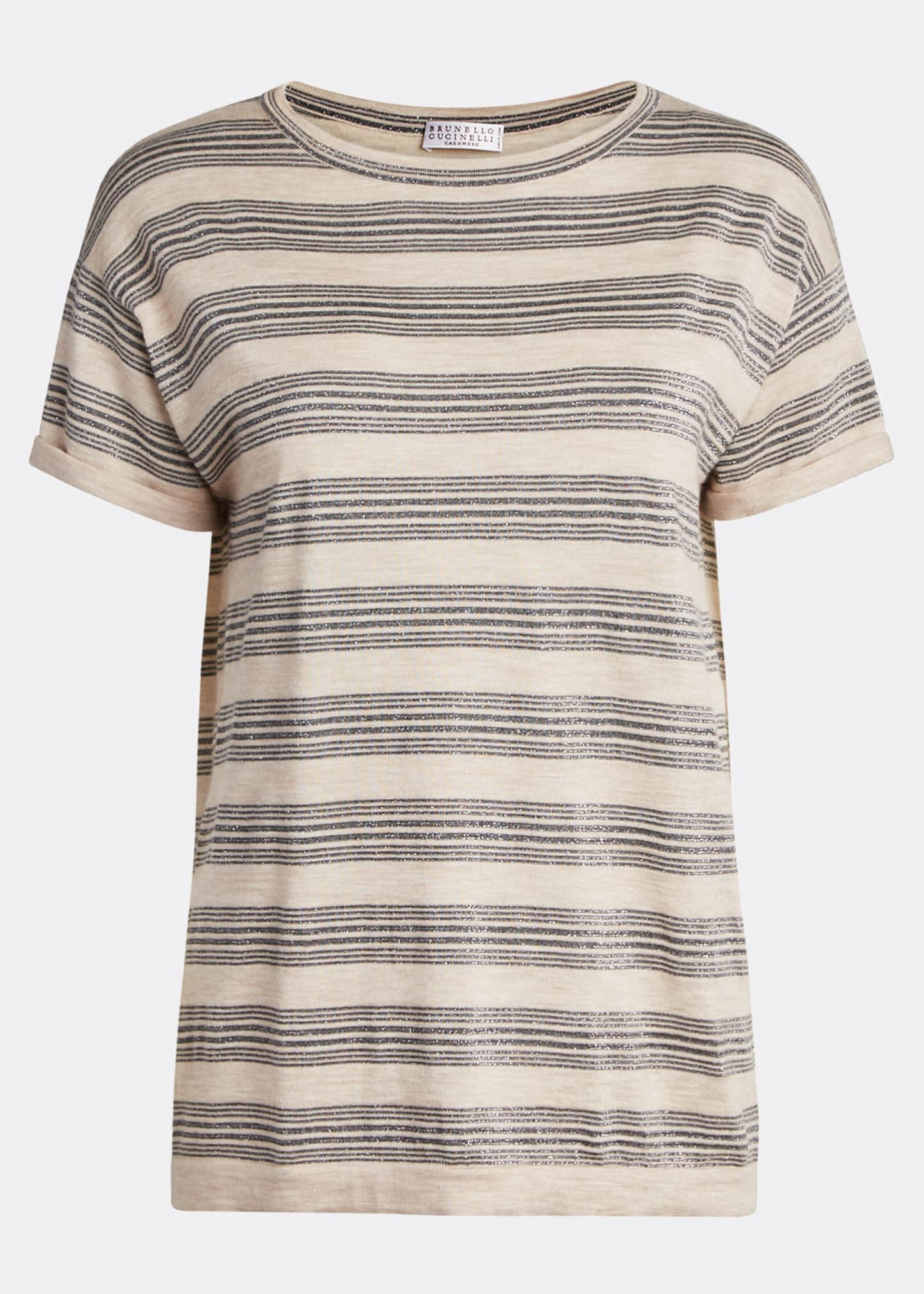 Image 5 of 5: Wool-Cashmere Striped Short-Sleeve Sweater