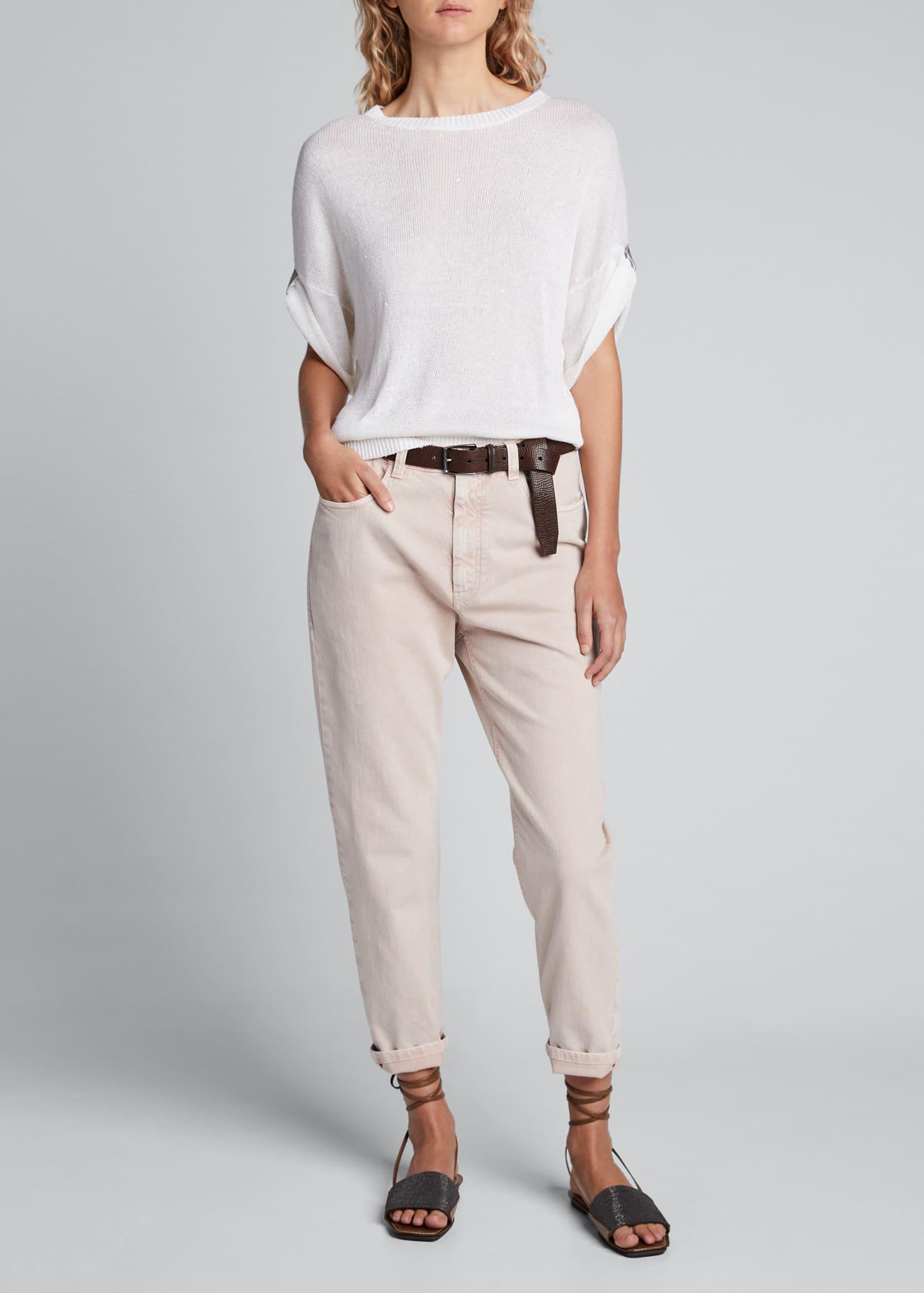 Brunello Cucinelli Linen-Silk Sequined Crewneck Sweater, White