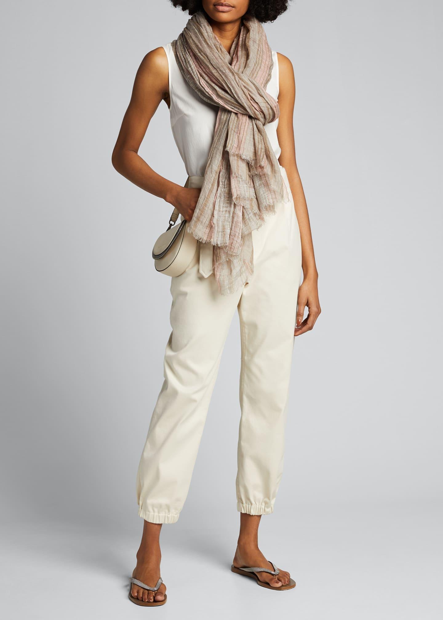 Image 2 of 4: Striped Lurex Linen Scarf