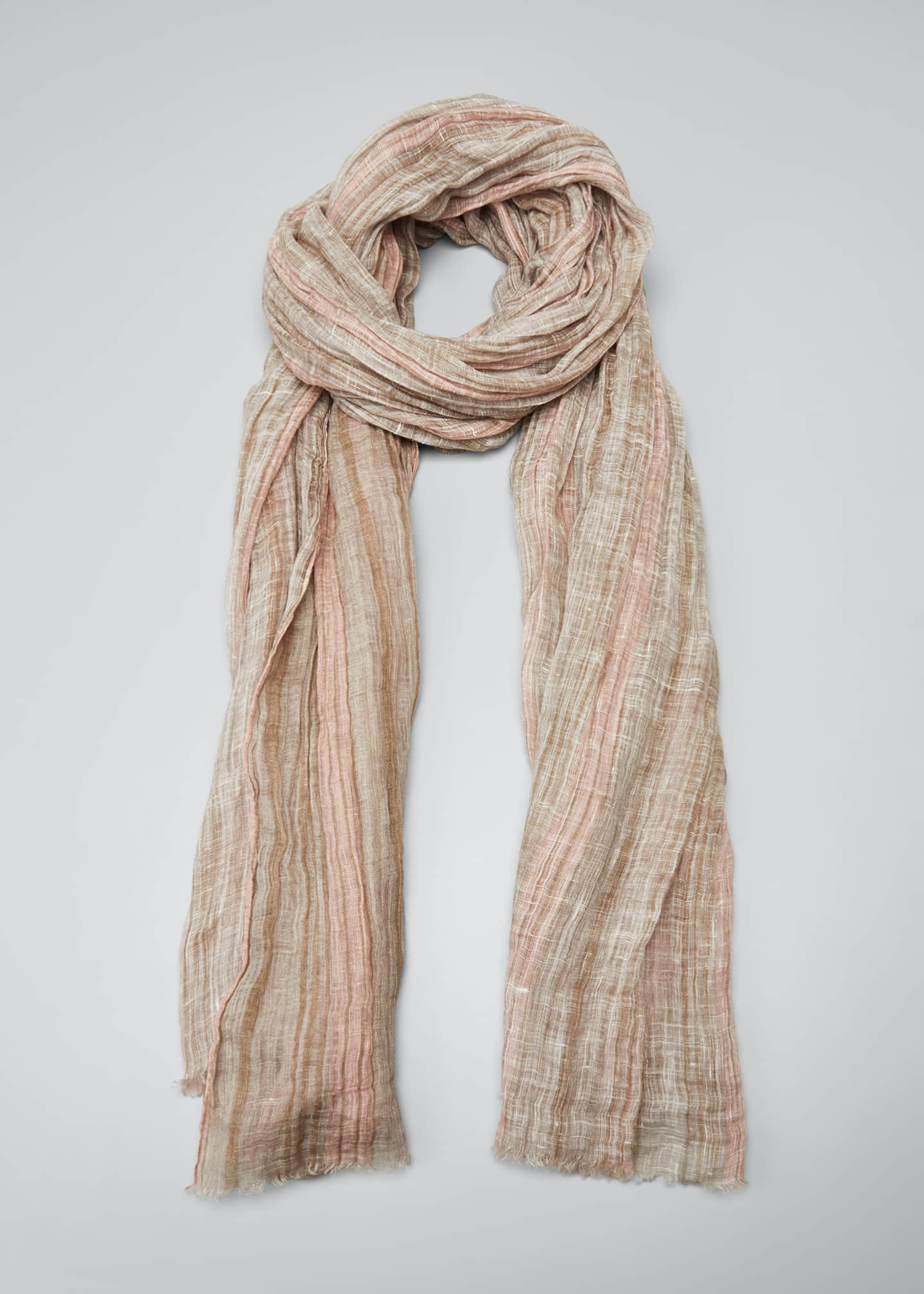 Image 1 of 4: Striped Lurex Linen Scarf