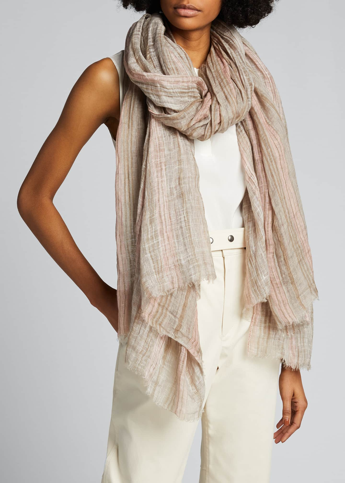 Image 3 of 4: Striped Lurex Linen Scarf