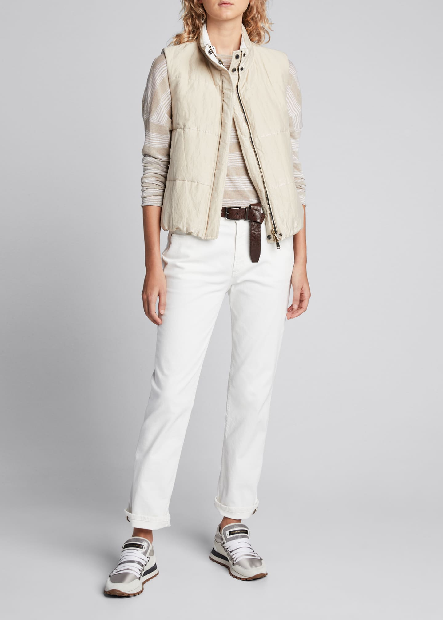 Brunello Cucinelli Shimmer-Striped Linen Boat-Neck Sweater