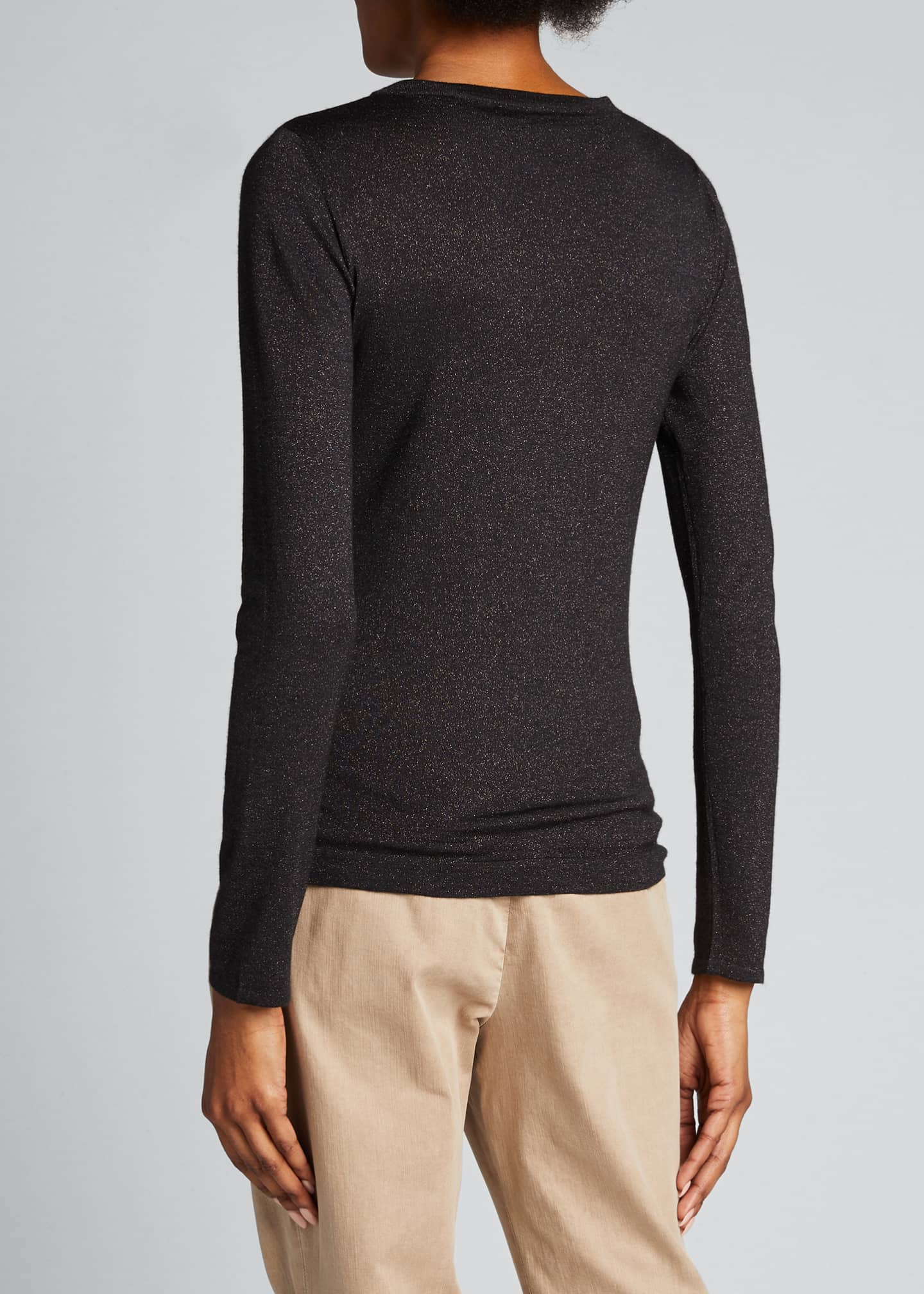 Image 2 of 5: Crewneck Long-Sleeve Cashmere-Blend Knit Pullover