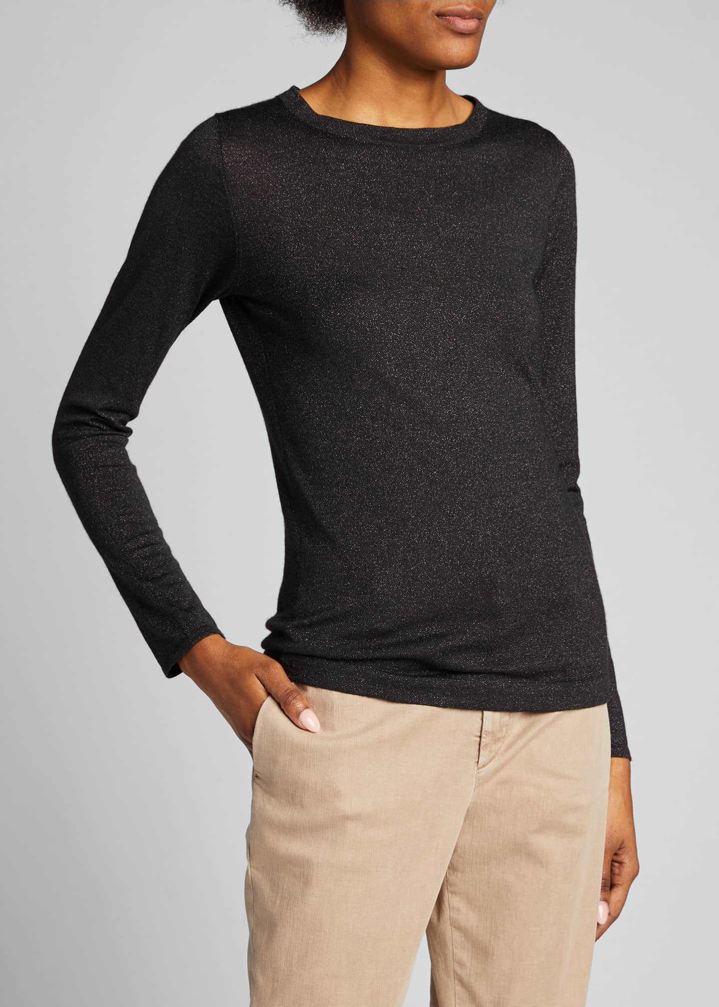 Image 3 of 5: Crewneck Long-Sleeve Cashmere-Blend Knit Pullover
