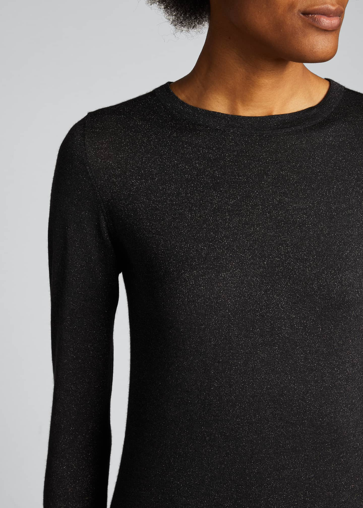 Image 4 of 5: Crewneck Long-Sleeve Cashmere-Blend Knit Pullover