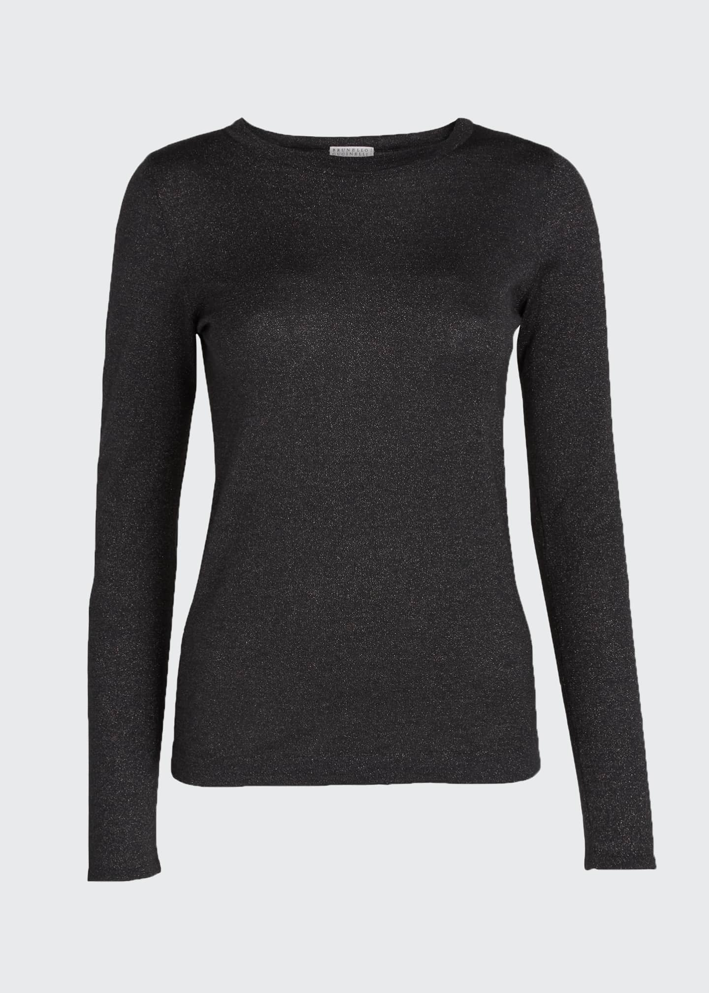 Image 5 of 5: Crewneck Long-Sleeve Cashmere-Blend Knit Pullover