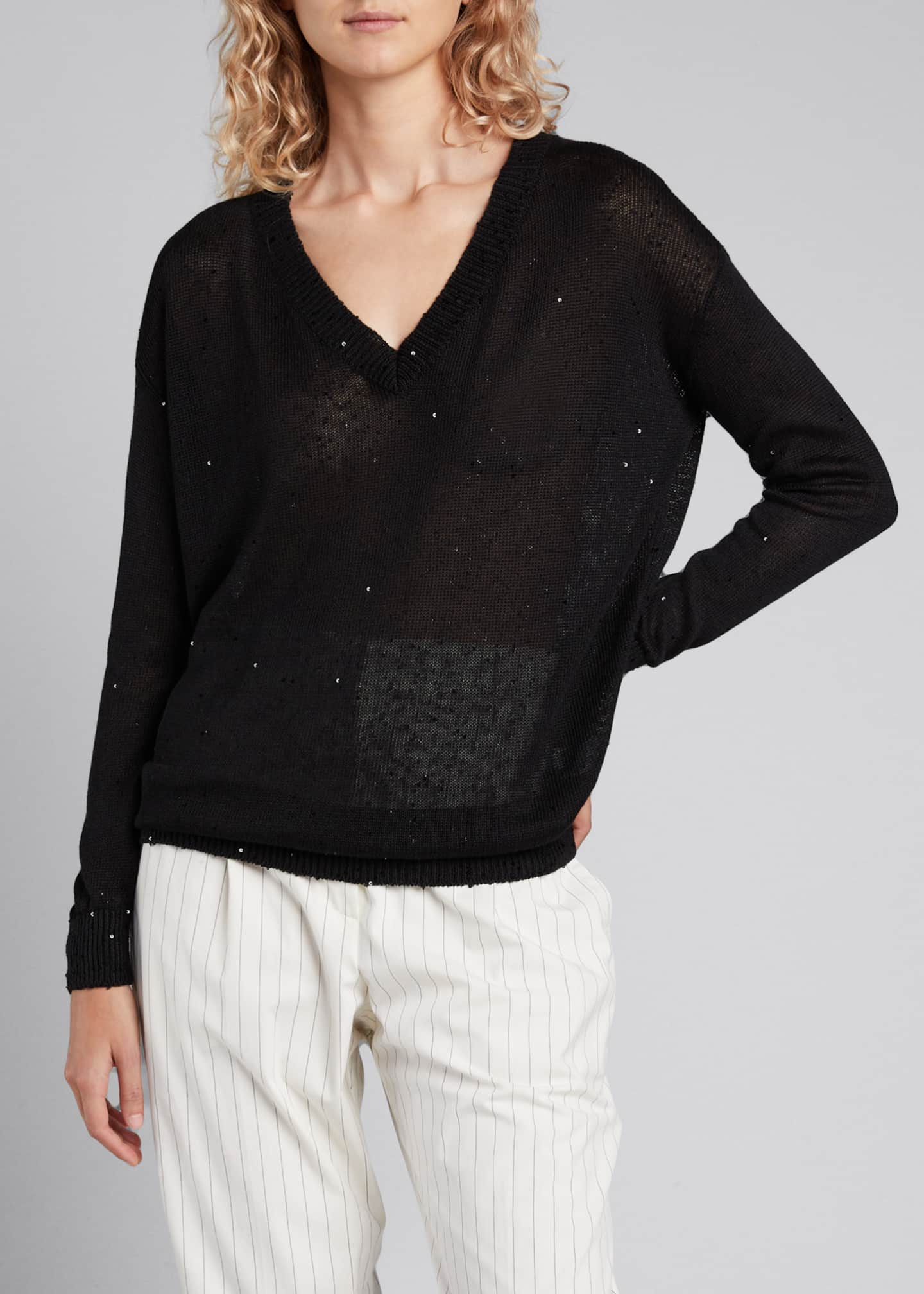 Image 3 of 5: V-Neck Paillette Long-Sleeve Linen/Silk Sweater