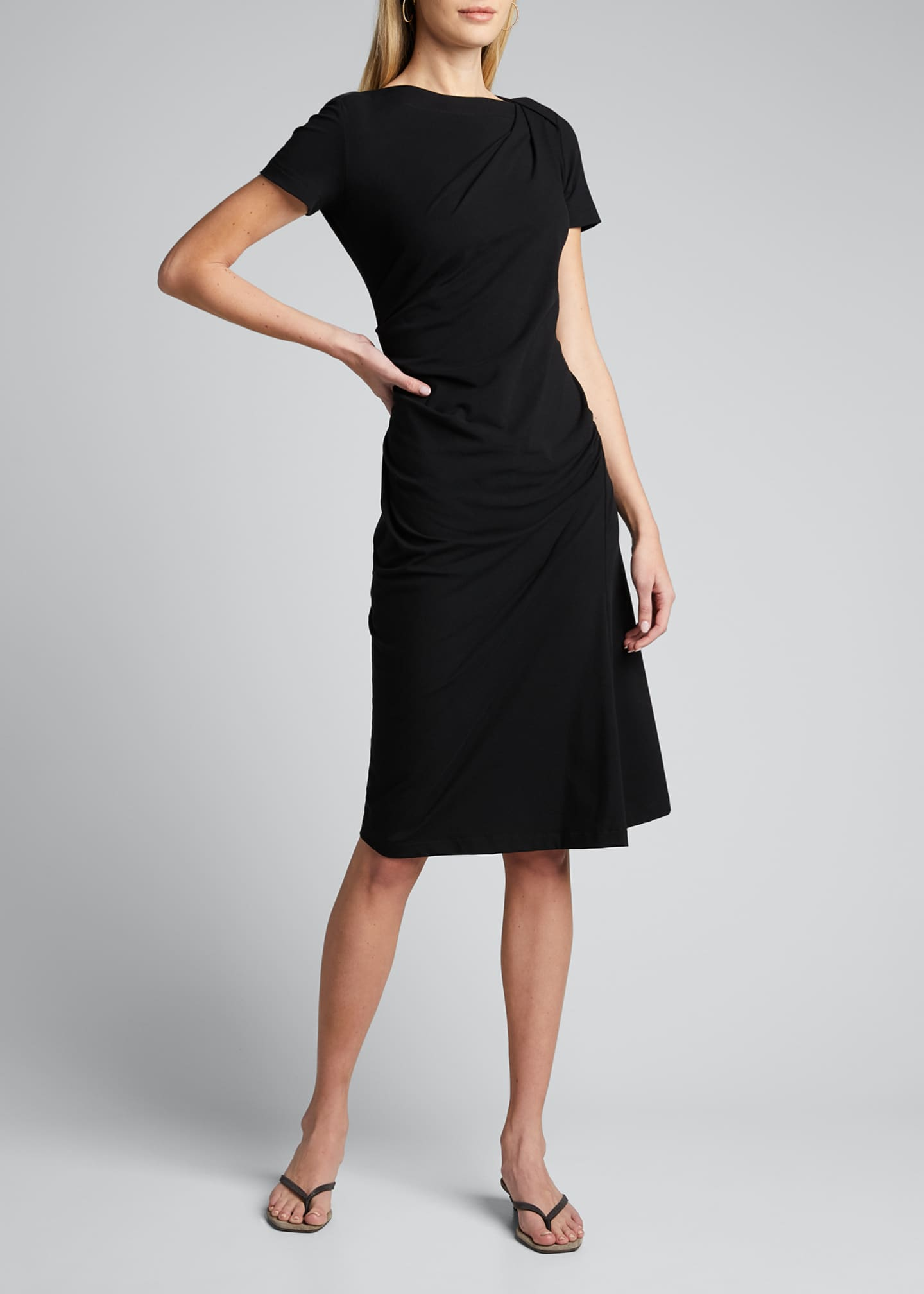 Image 3 of 5: Short-Sleeve Jersey Couture Side Ruched Dress