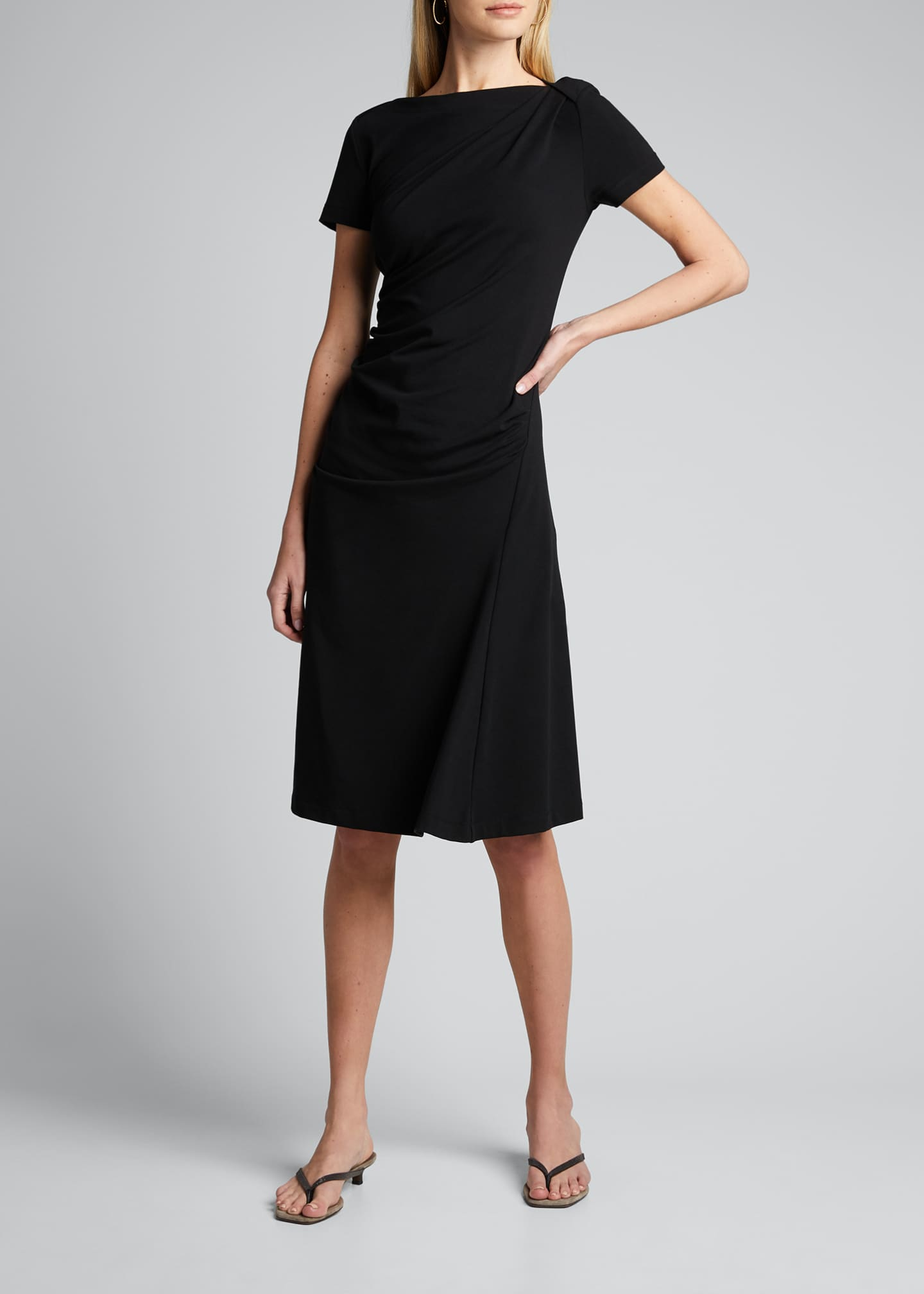 Image 1 of 5: Short-Sleeve Jersey Couture Side Ruched Dress