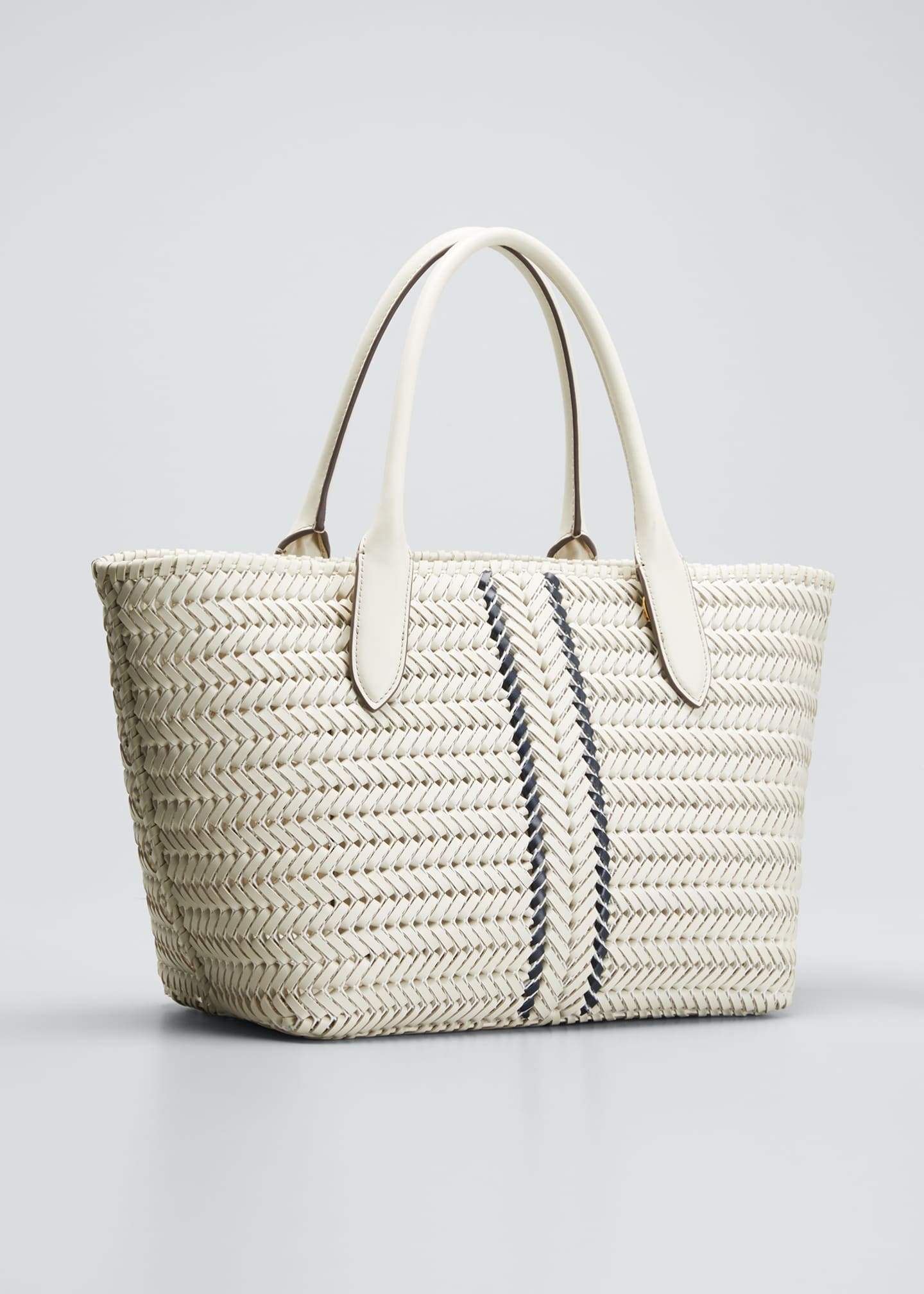 Image 3 of 5: The Neeson Stripe Leather Tote Bag