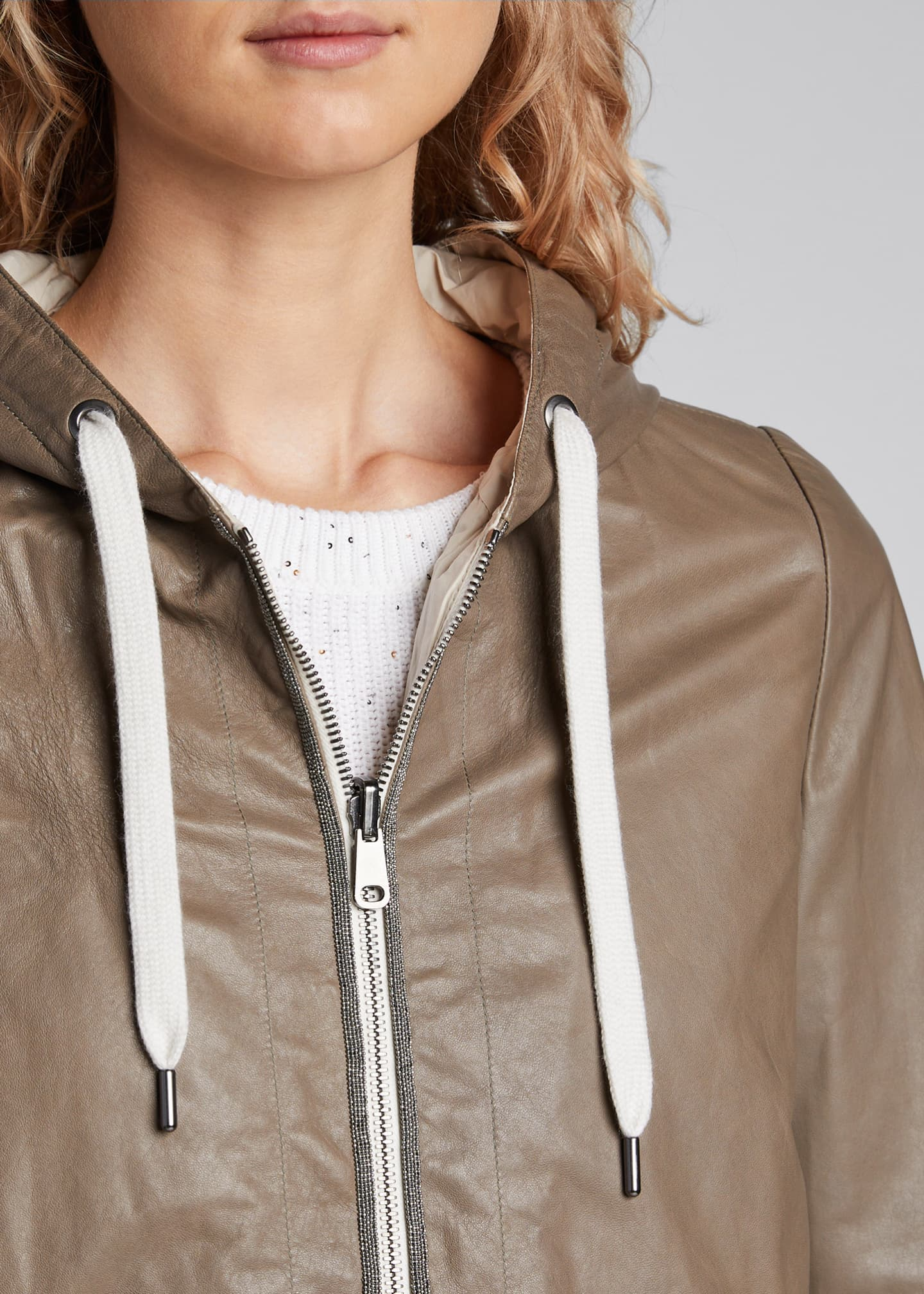 Image 4 of 5: Reversible Leather Hoodie Jacket
