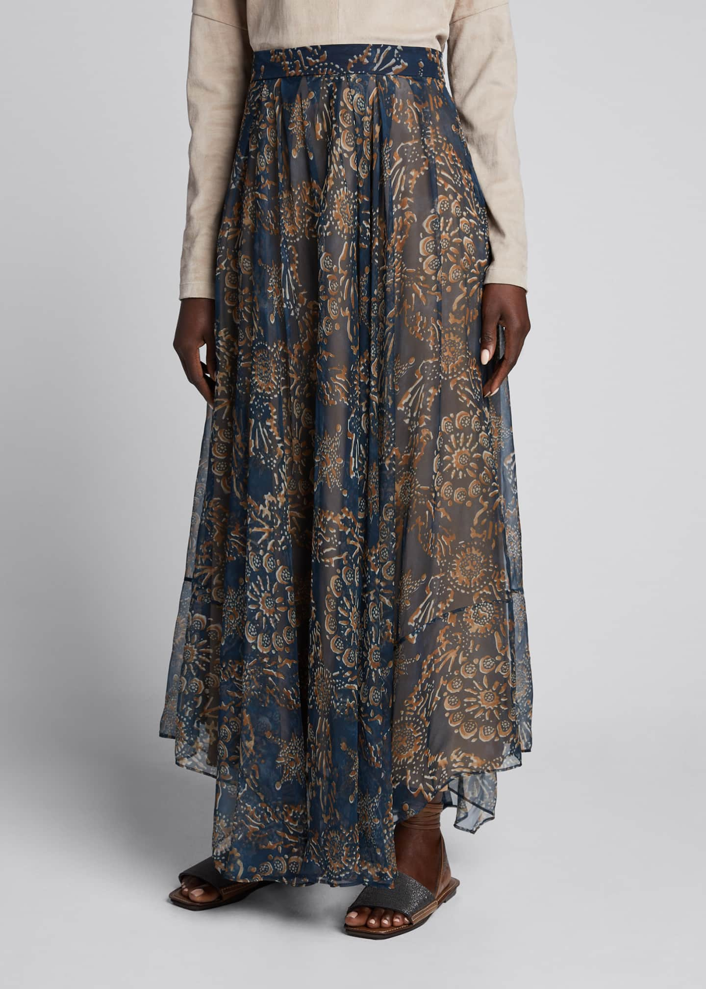 Image 3 of 5: Printed Chiffon Pull-On Maxi Skirt