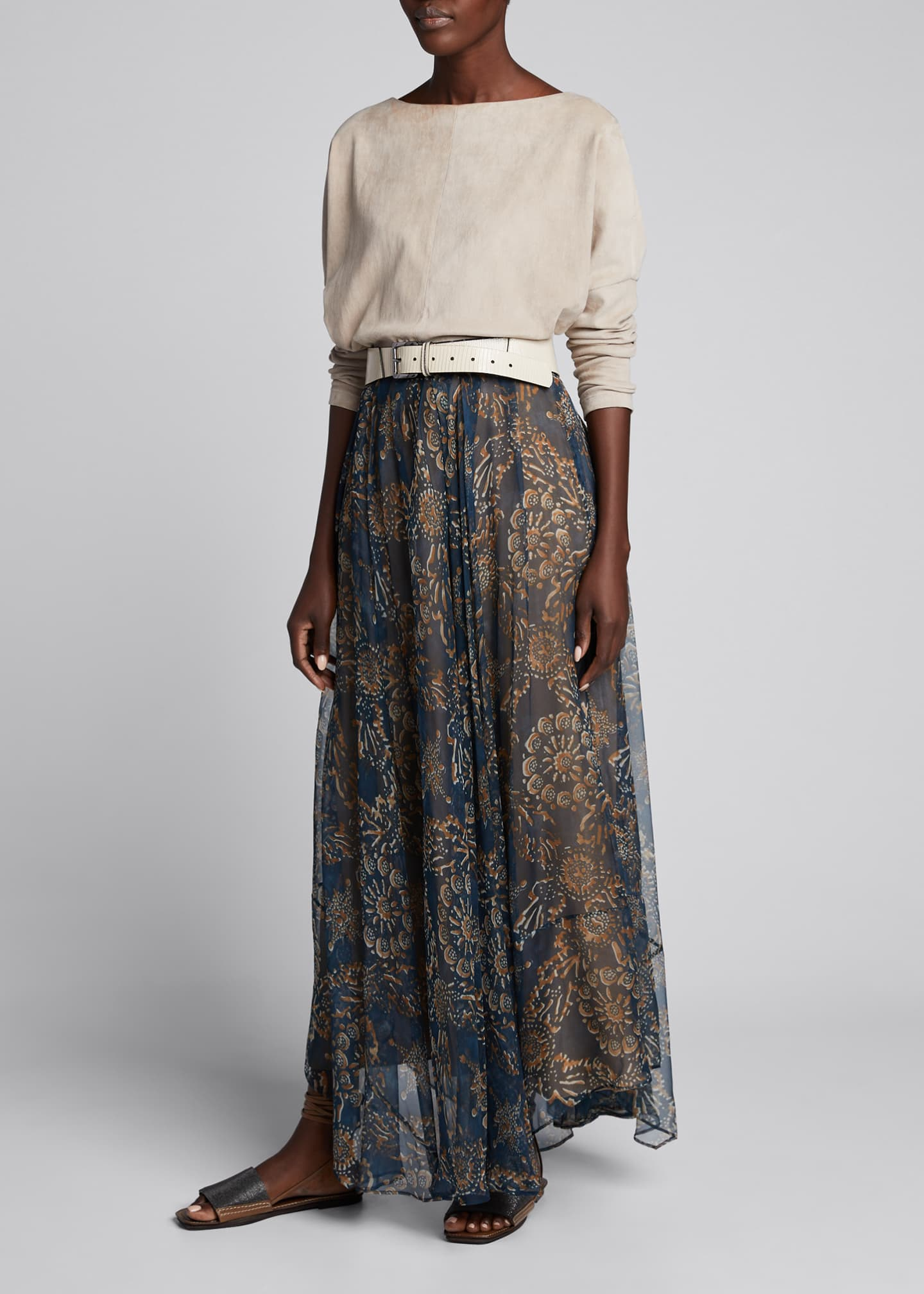 Image 1 of 5: Printed Chiffon Pull-On Maxi Skirt