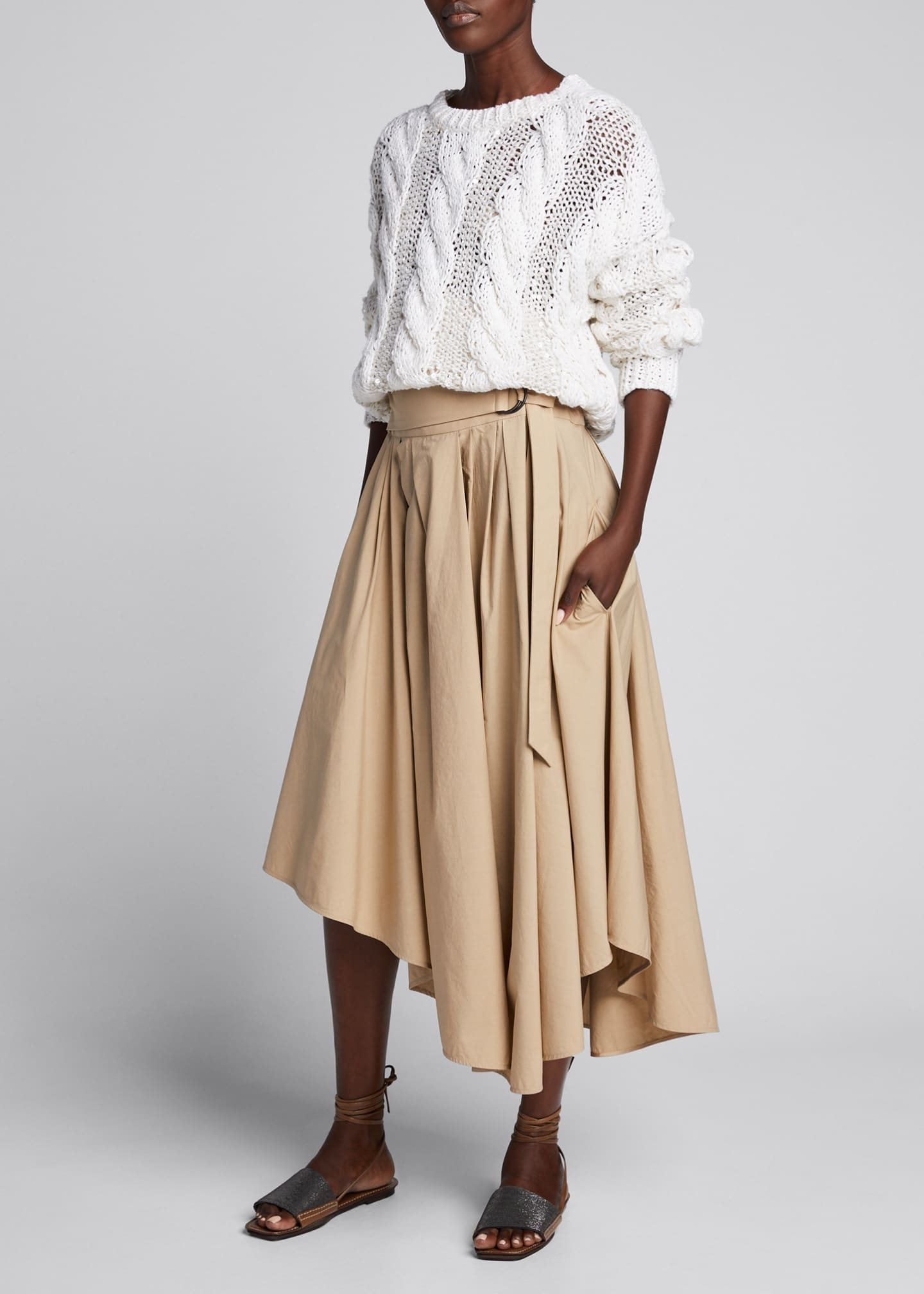 Brunello Cucinelli Asymmetric Wrapped A-Line Skirt