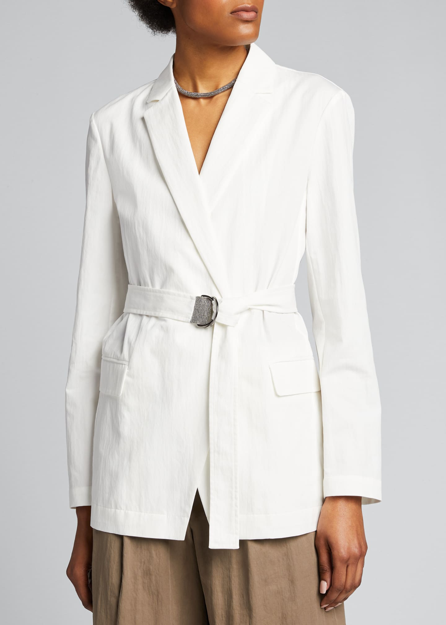 Image 3 of 4: Crispy Cotton Gabardine Belted Jacket