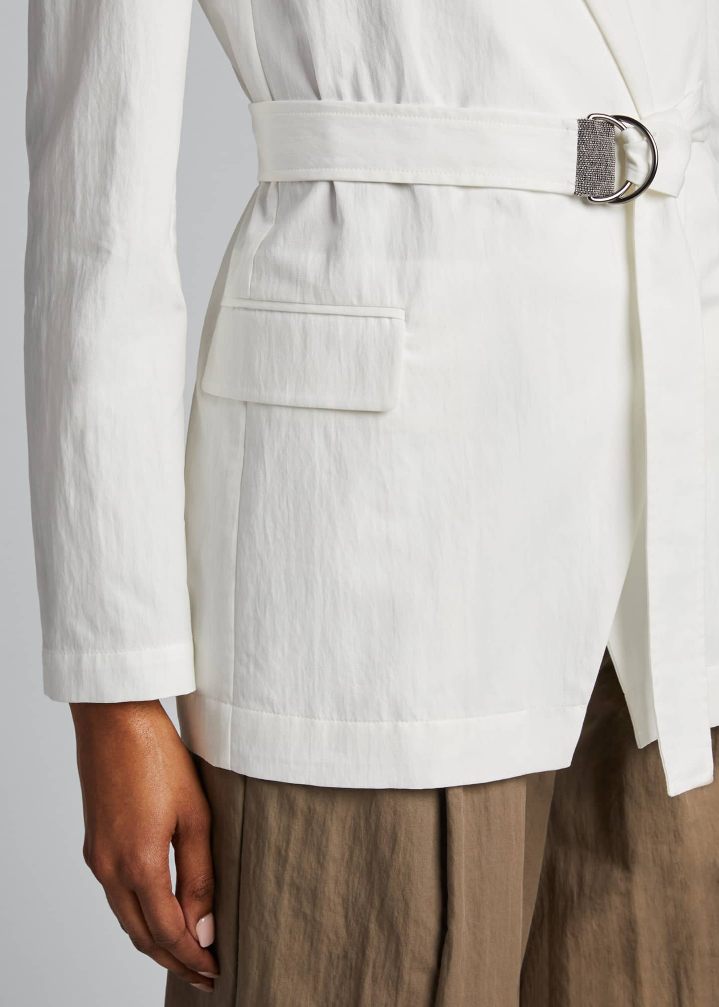 Image 4 of 4: Crispy Cotton Gabardine Belted Jacket