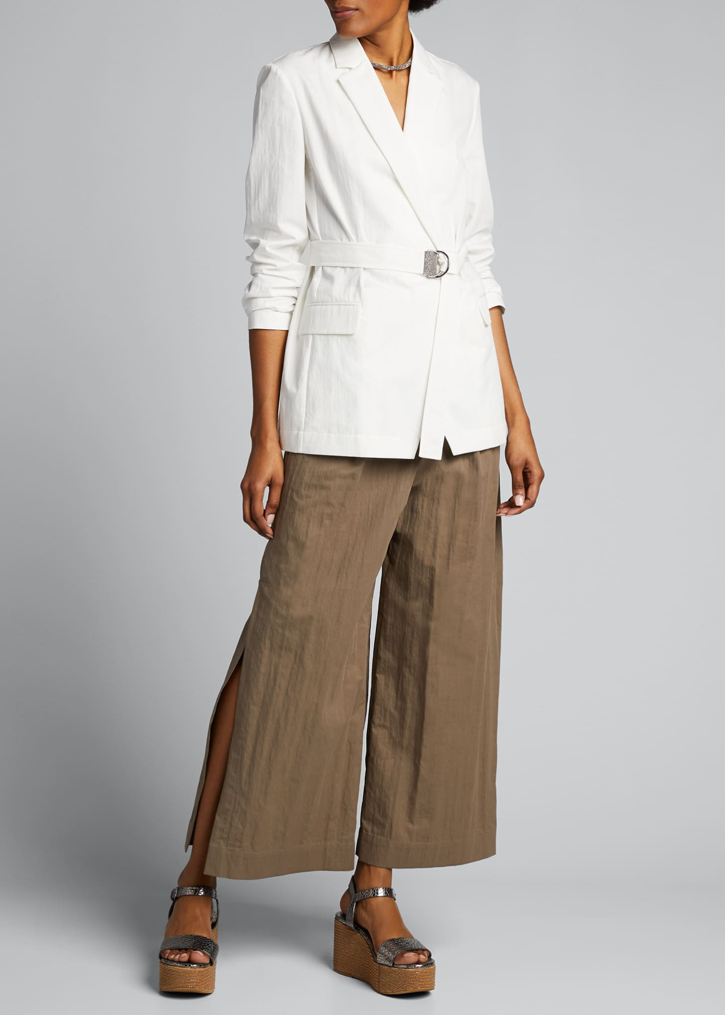 Image 1 of 4: Crispy Cotton Gabardine Belted Jacket