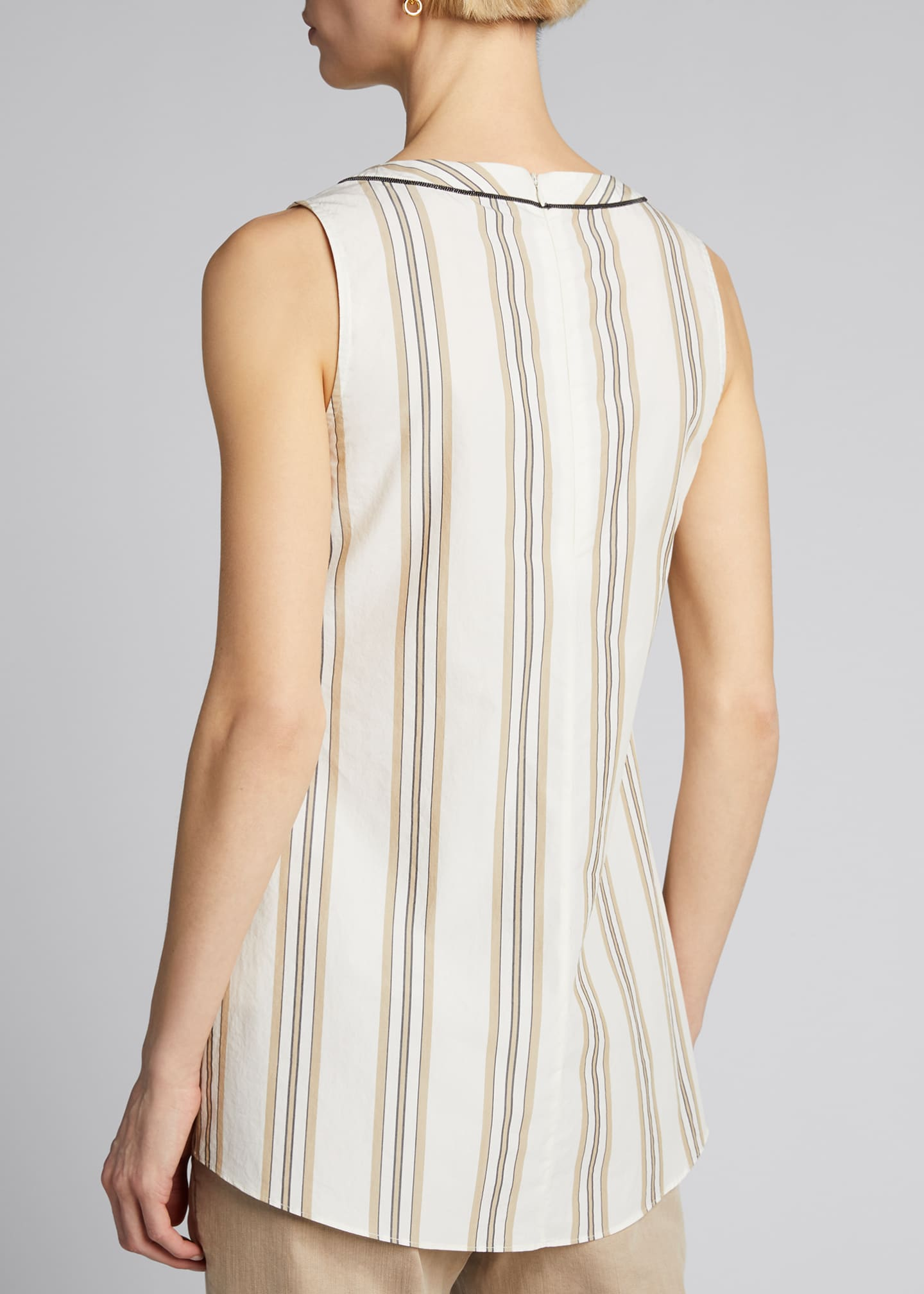 Image 2 of 5: Monili-Beaded Sleeveless Striped Poplin Top