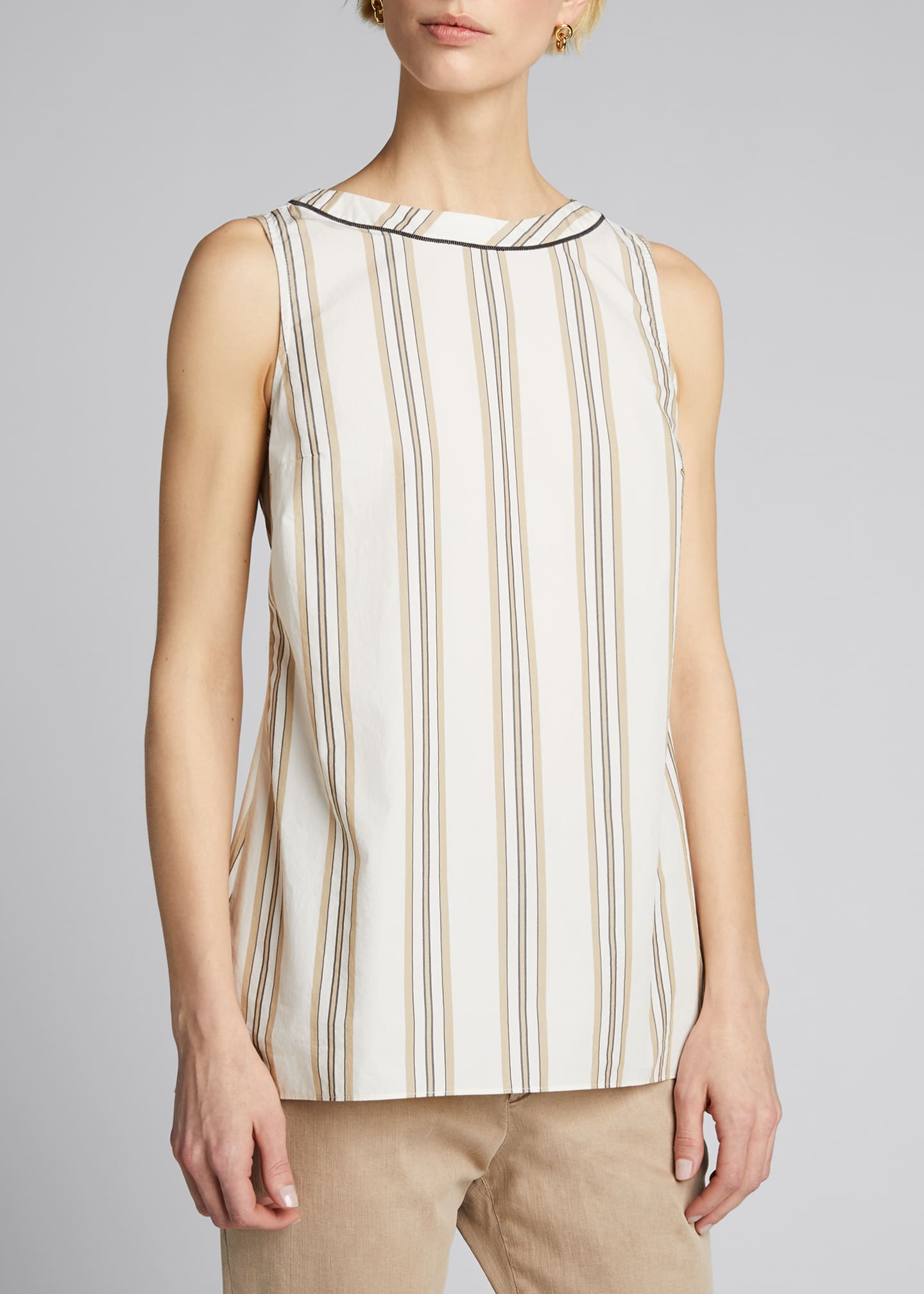 Image 3 of 5: Monili-Beaded Sleeveless Striped Poplin Top