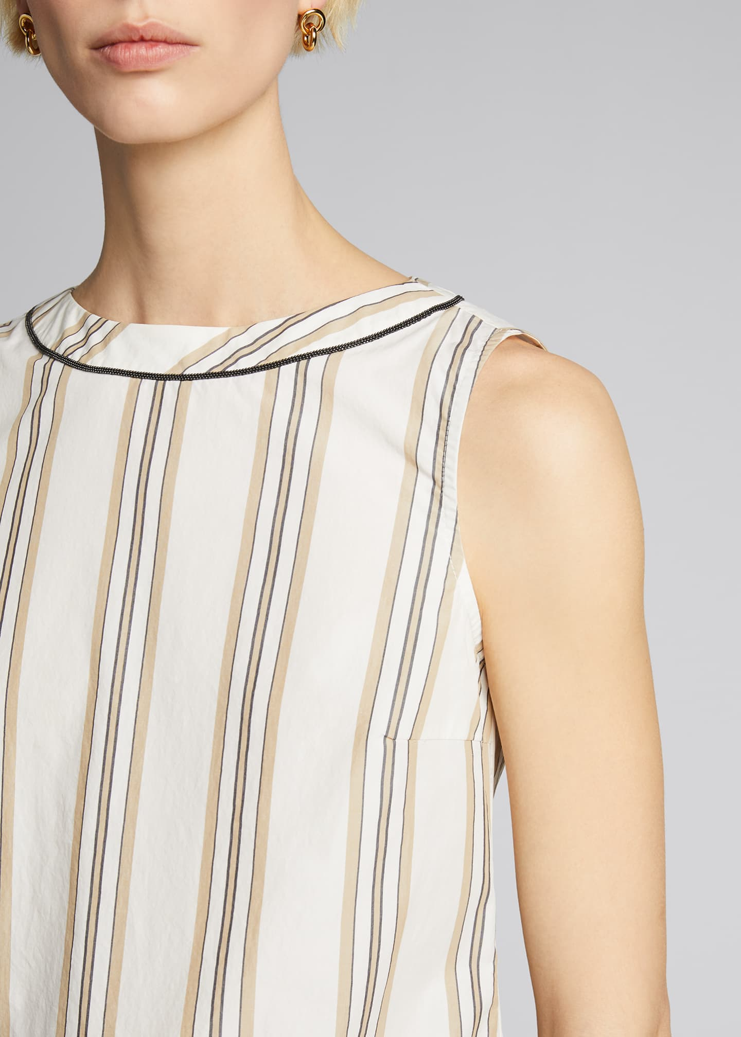 Image 4 of 5: Monili-Beaded Sleeveless Striped Poplin Top