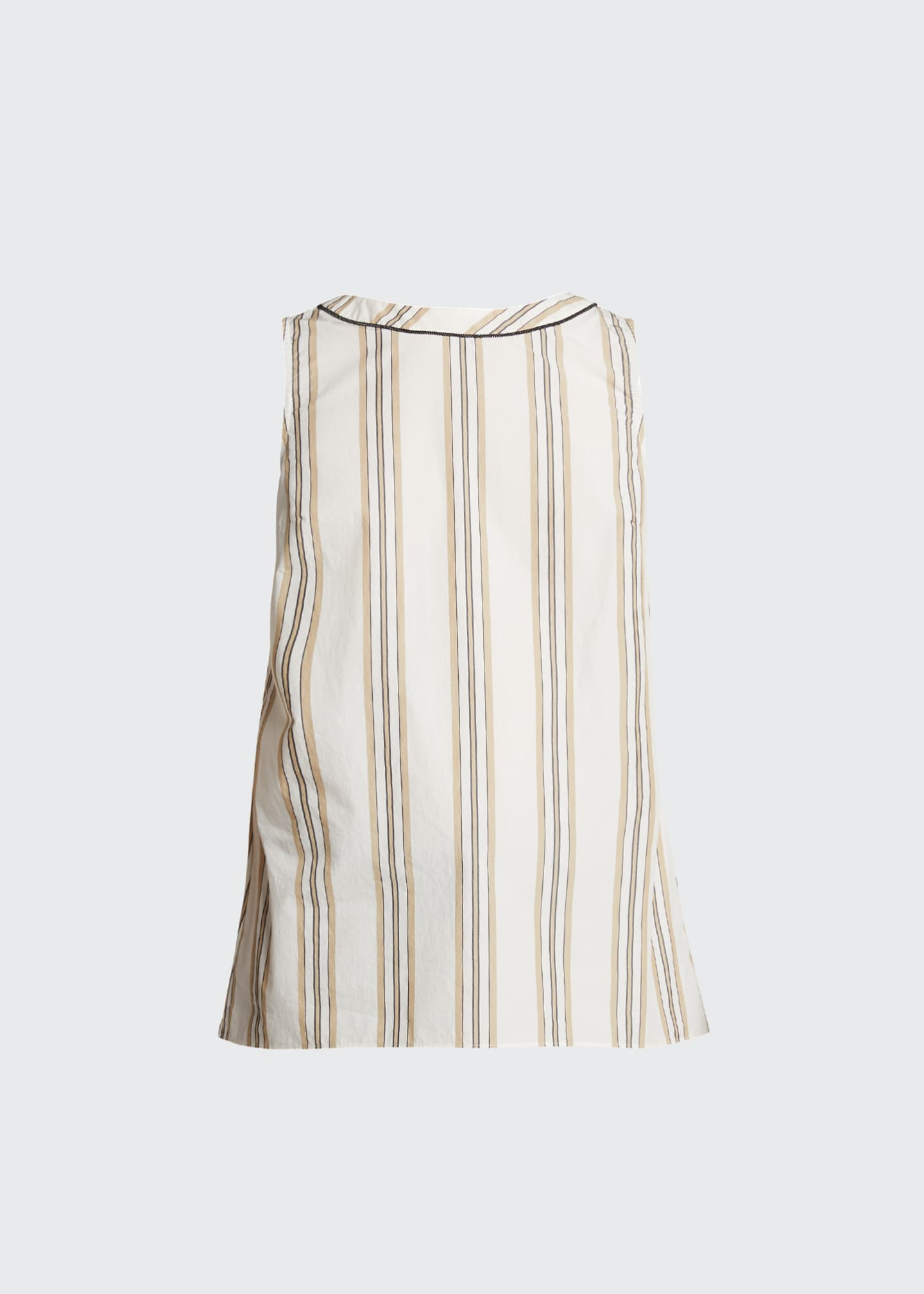 Image 5 of 5: Monili-Beaded Sleeveless Striped Poplin Top