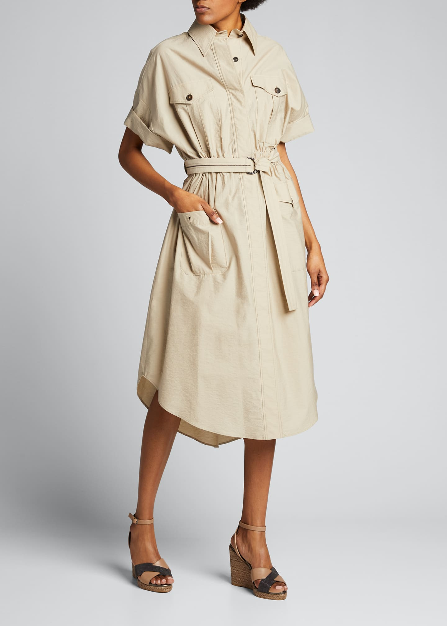 Brunello Cucinelli Techno Poplin Belted Dress