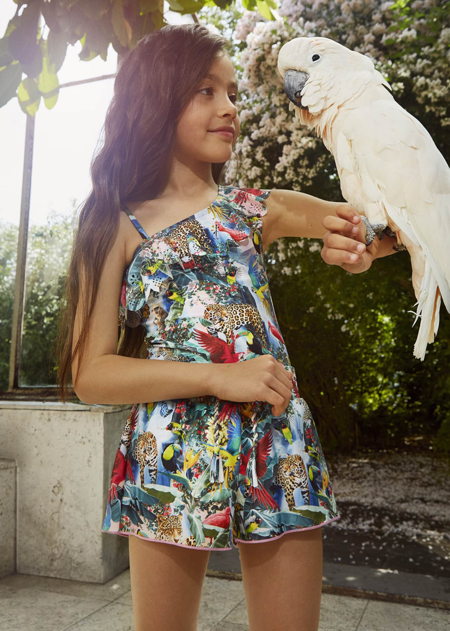 Image 2 of 3: Girl's Jungle Print Frill Detail One-Piece Swimsuit, Size 3-14