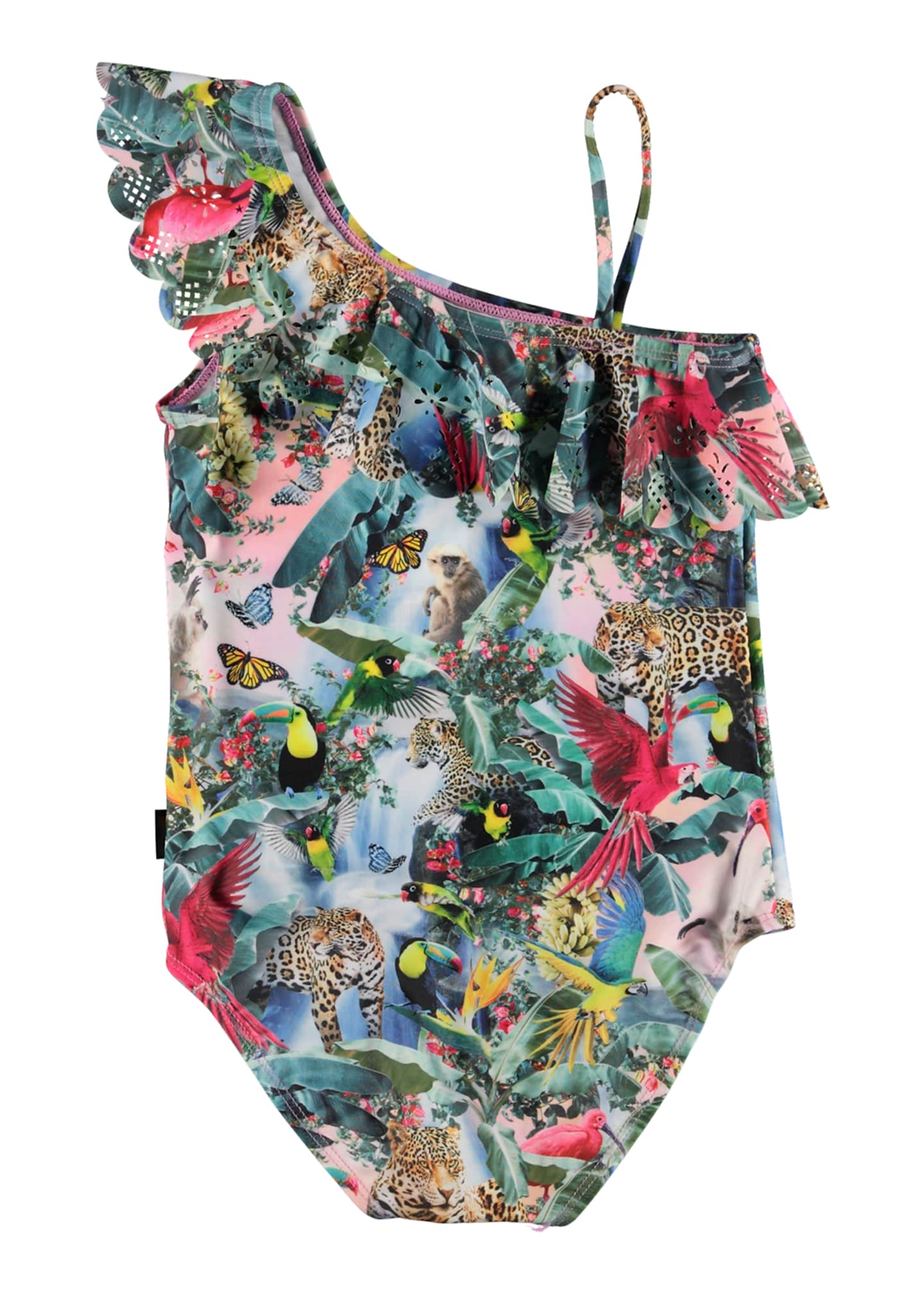 Image 3 of 3: Girl's Jungle Print Frill Detail One-Piece Swimsuit, Size 3-14