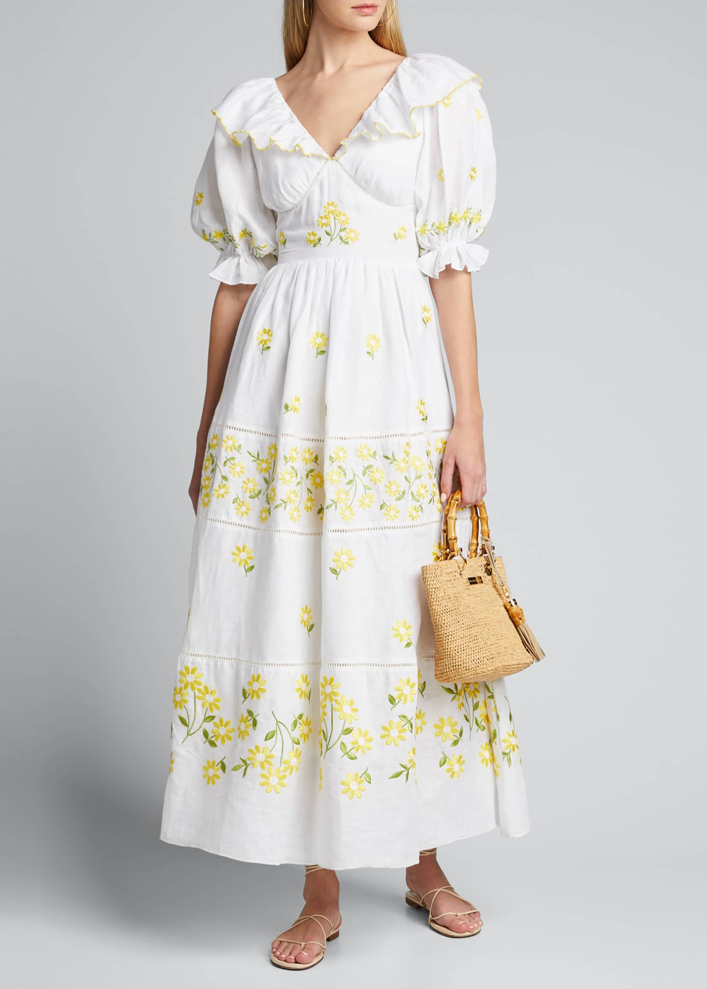 Gul Hurgel Floral-Print Puff-Sleeve Dress with Strappy Open-Back