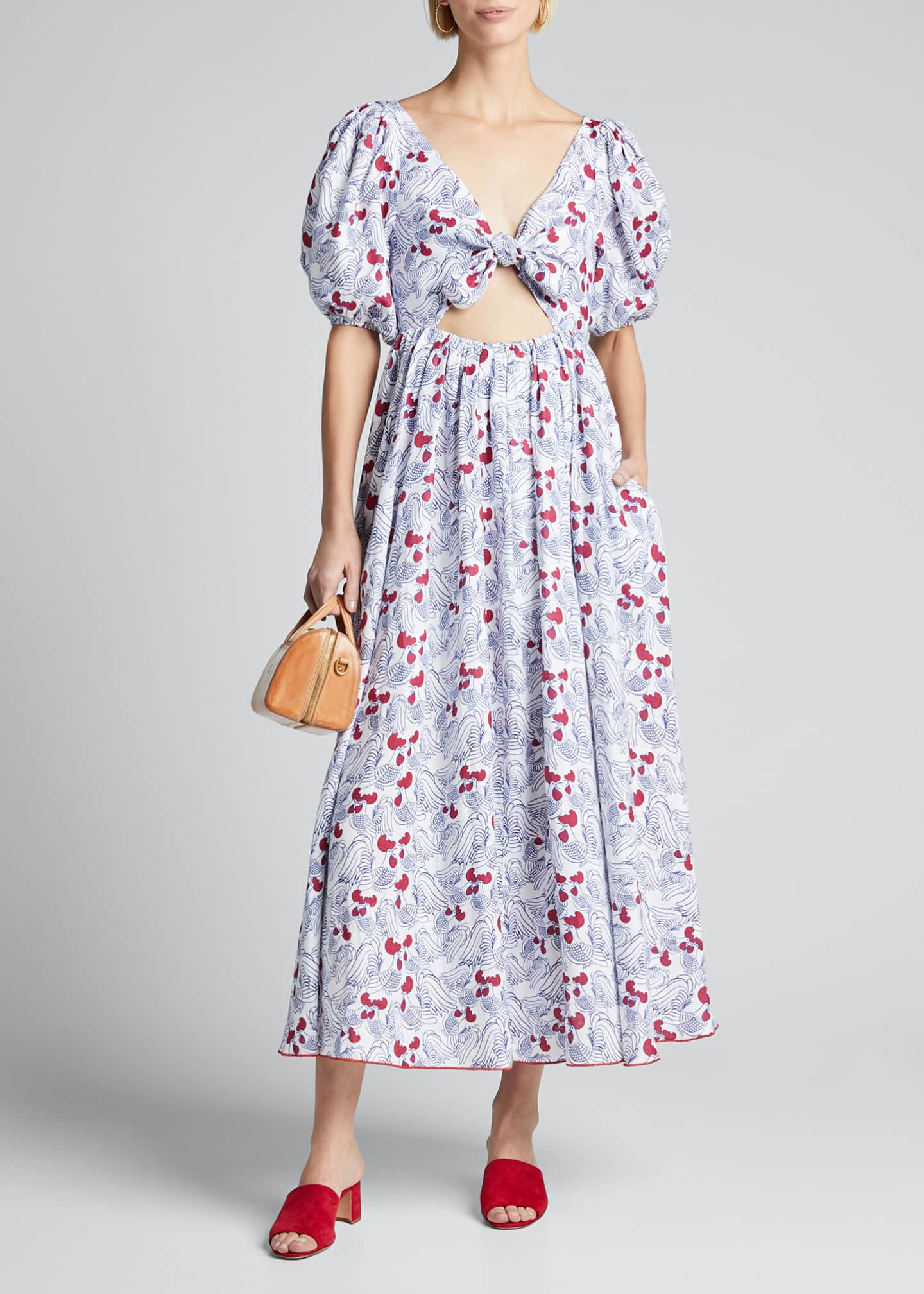 Gul Hurgel Printed Bow Dress with Cutout Front