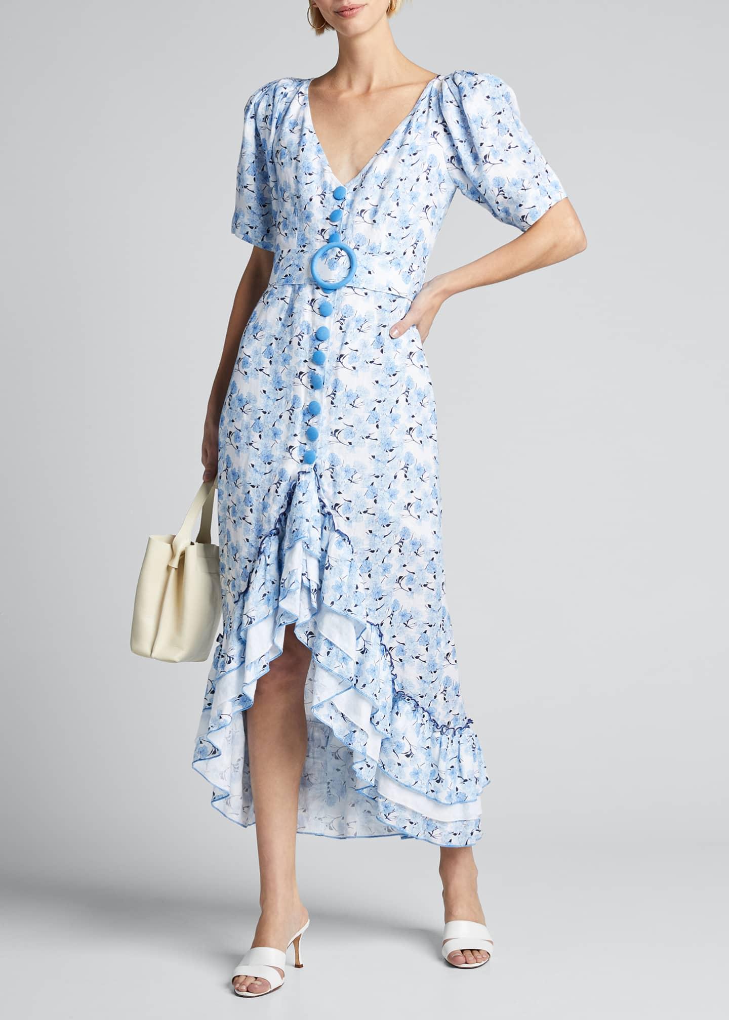 Gul Hurgel Puff-Sleeve Button-Down Belted Frill Dress