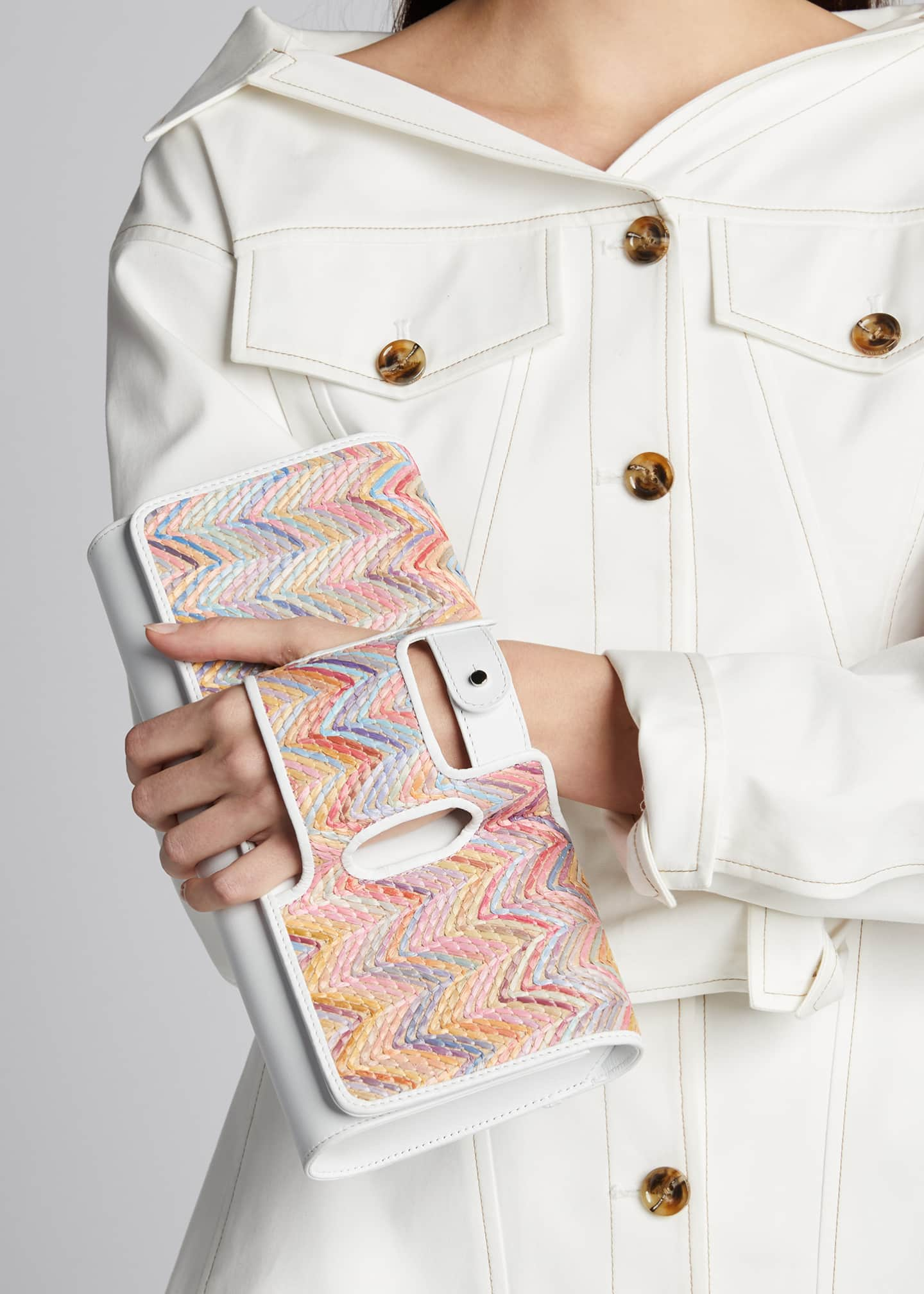 Image 2 of 5: La Newyorkaise Raffia Clutch Bag