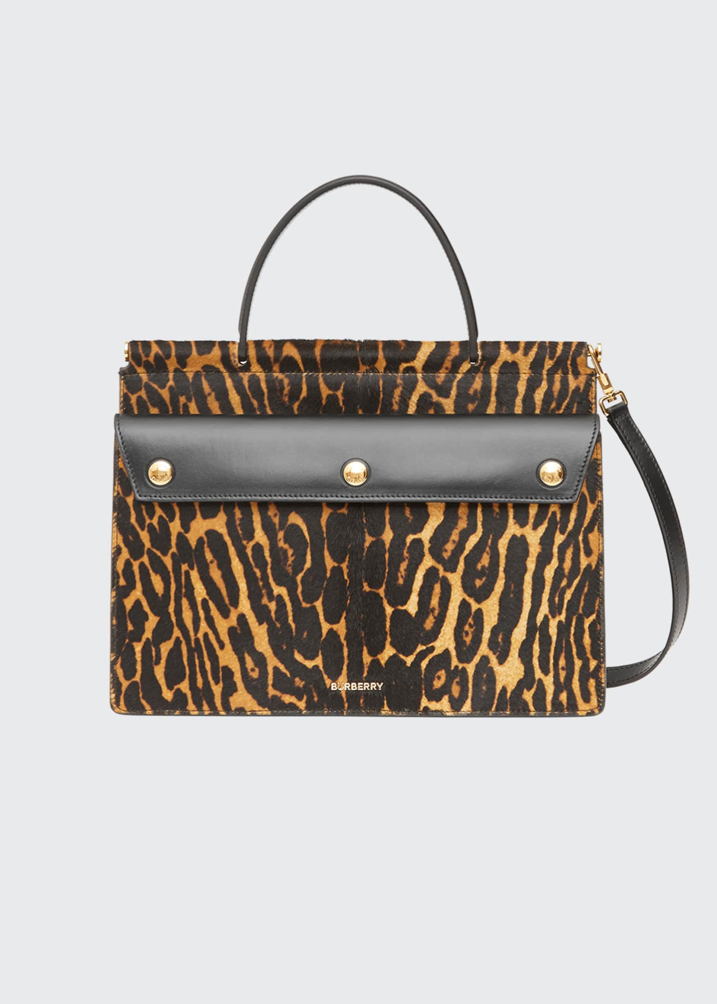 Image 1 of 4: Small Pocket Leopard-Print Calf Hair Shoulder Bag