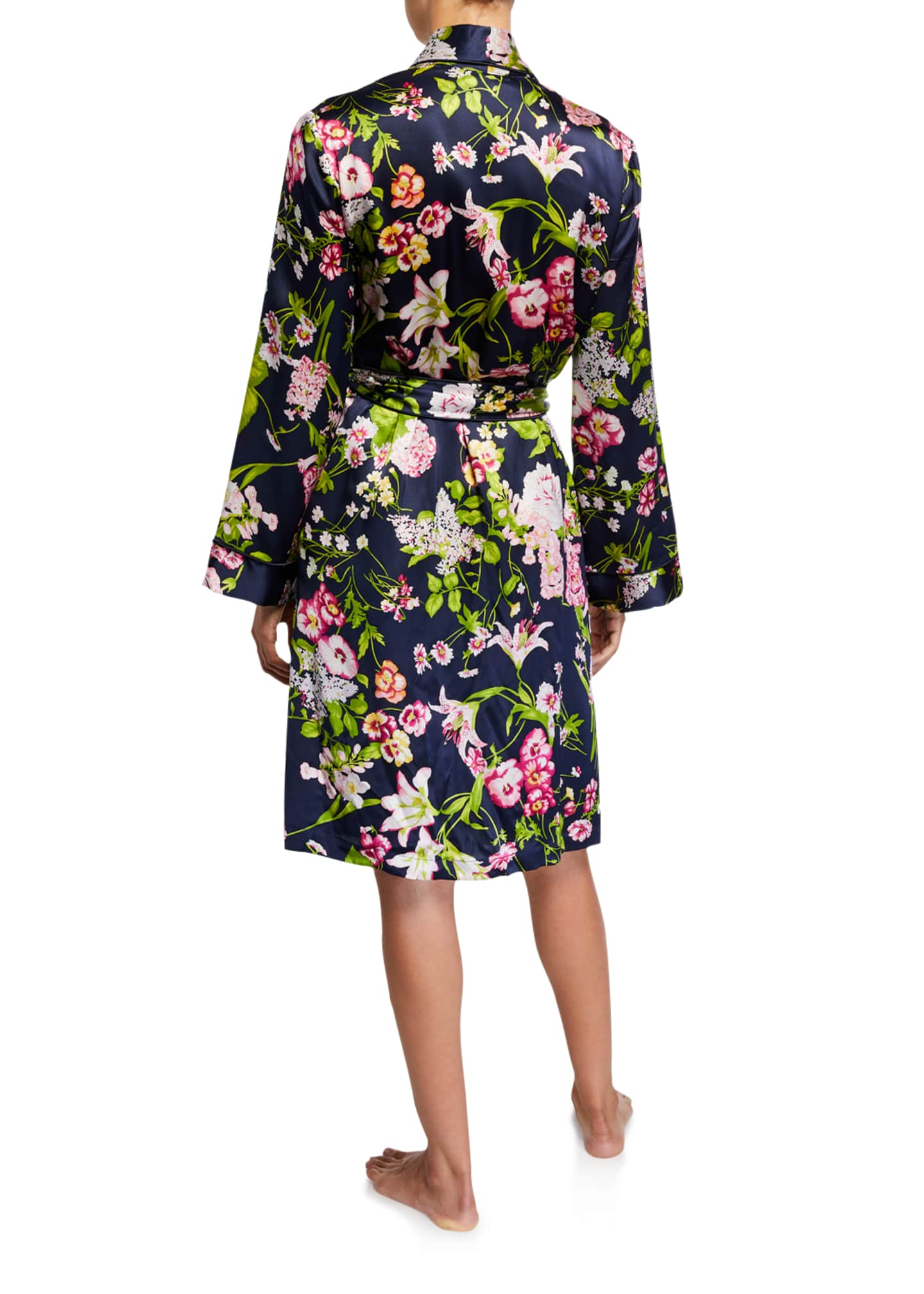 Image 2 of 2: Floral-Print Silk Robe