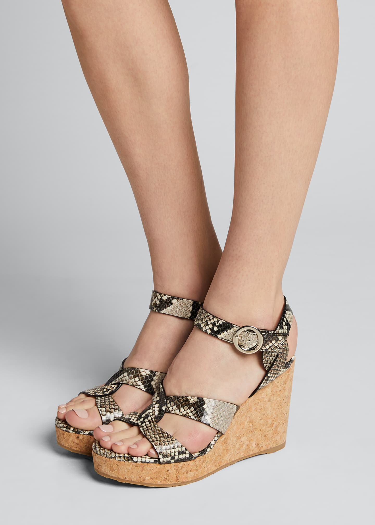 Image 2 of 5: Aleili Snake-Print Leather Cork Wedge Sandals