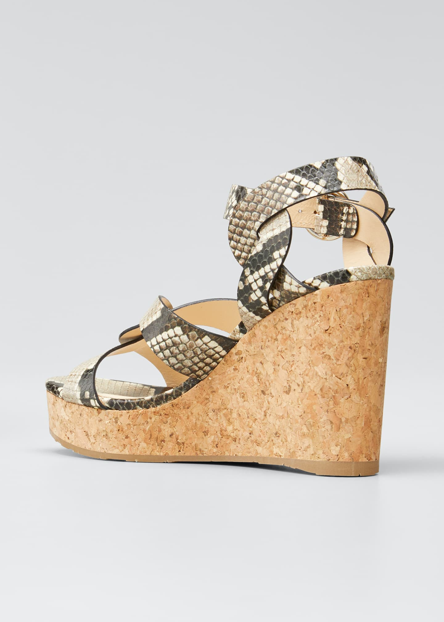 Image 4 of 5: Aleili Snake-Print Leather Cork Wedge Sandals
