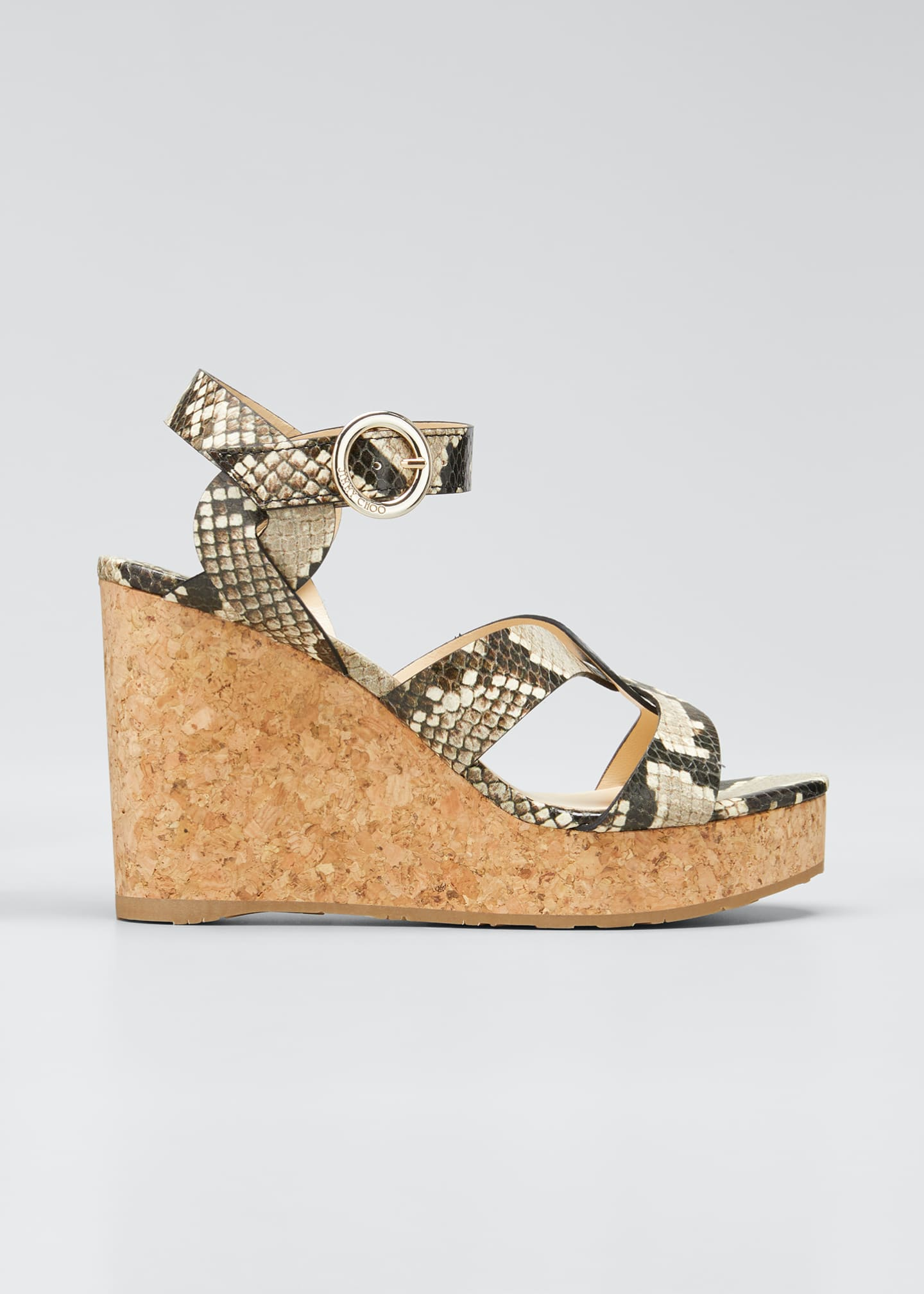 Image 1 of 5: Aleili Snake-Print Leather Cork Wedge Sandals