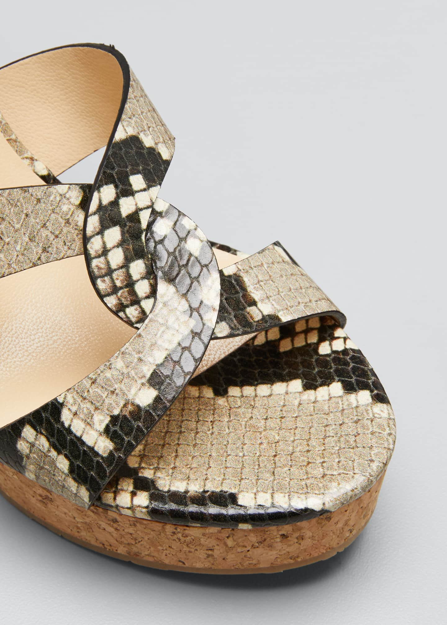 Image 5 of 5: Aleili Snake-Print Leather Cork Wedge Sandals