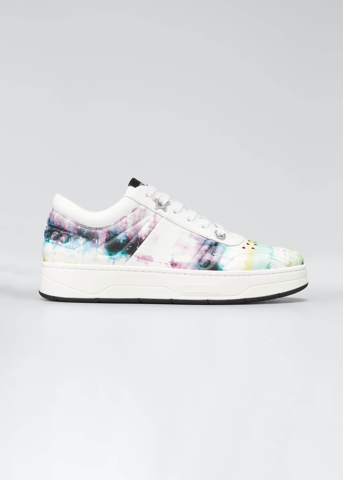 Image 1 of 5: Tie-Dye Leather Platform Sneakers
