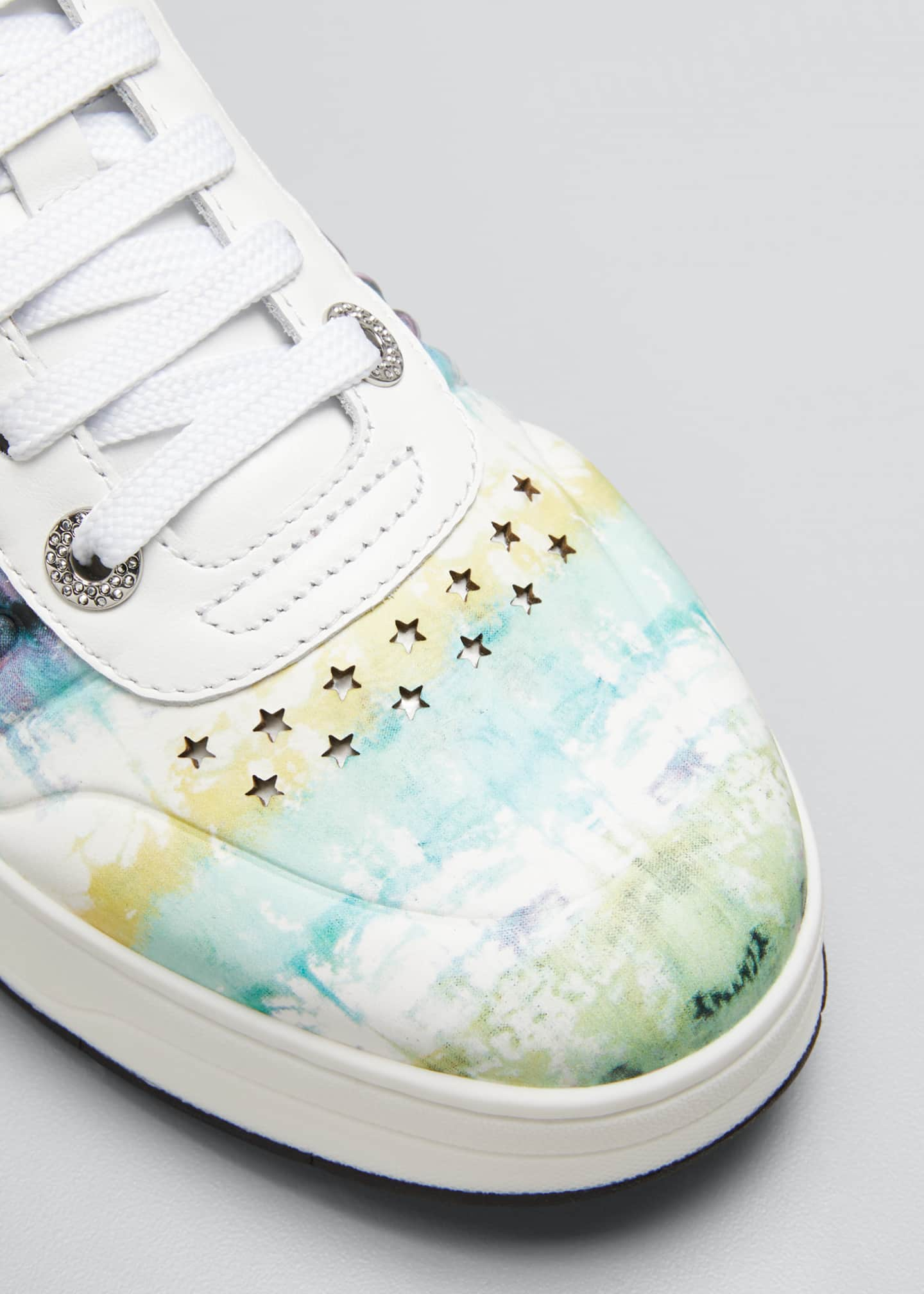 Image 5 of 5: Tie-Dye Leather Platform Sneakers
