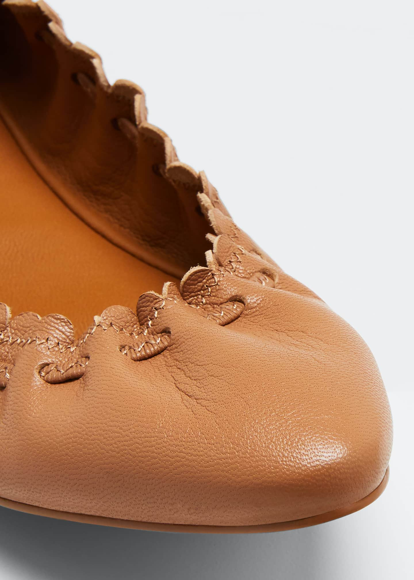 Image 5 of 5: Rex Goat Biscotto Scalloped Flats, Beige